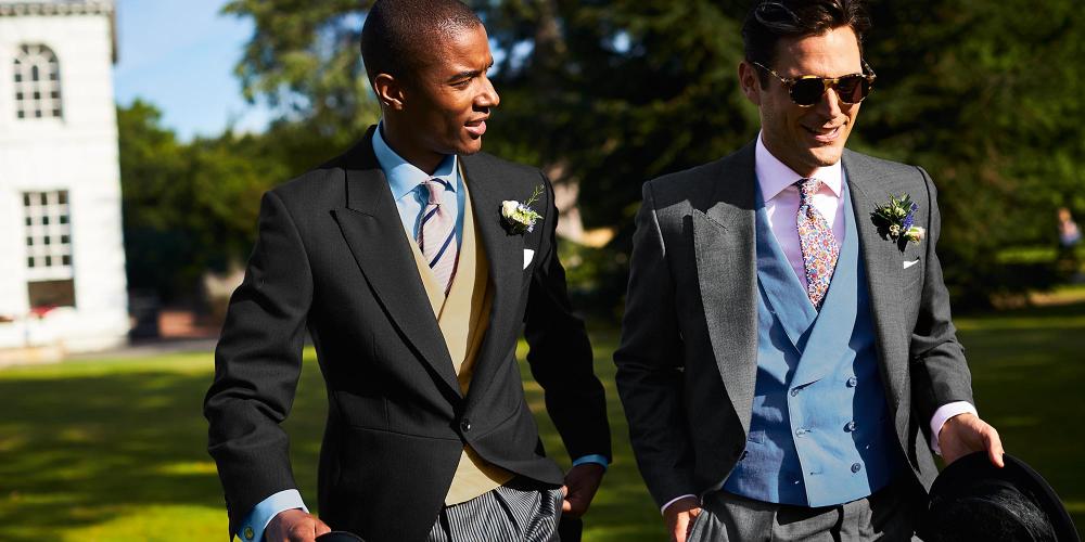 wedding photo with models wearing Charles Tyrwhitt