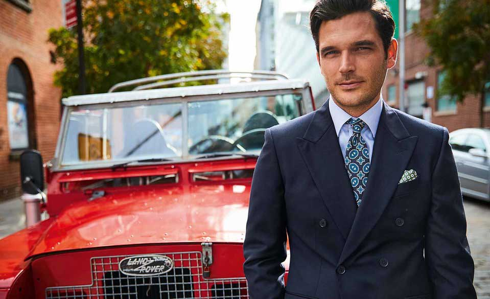 model wearing Charles Tyrwhitt clothes