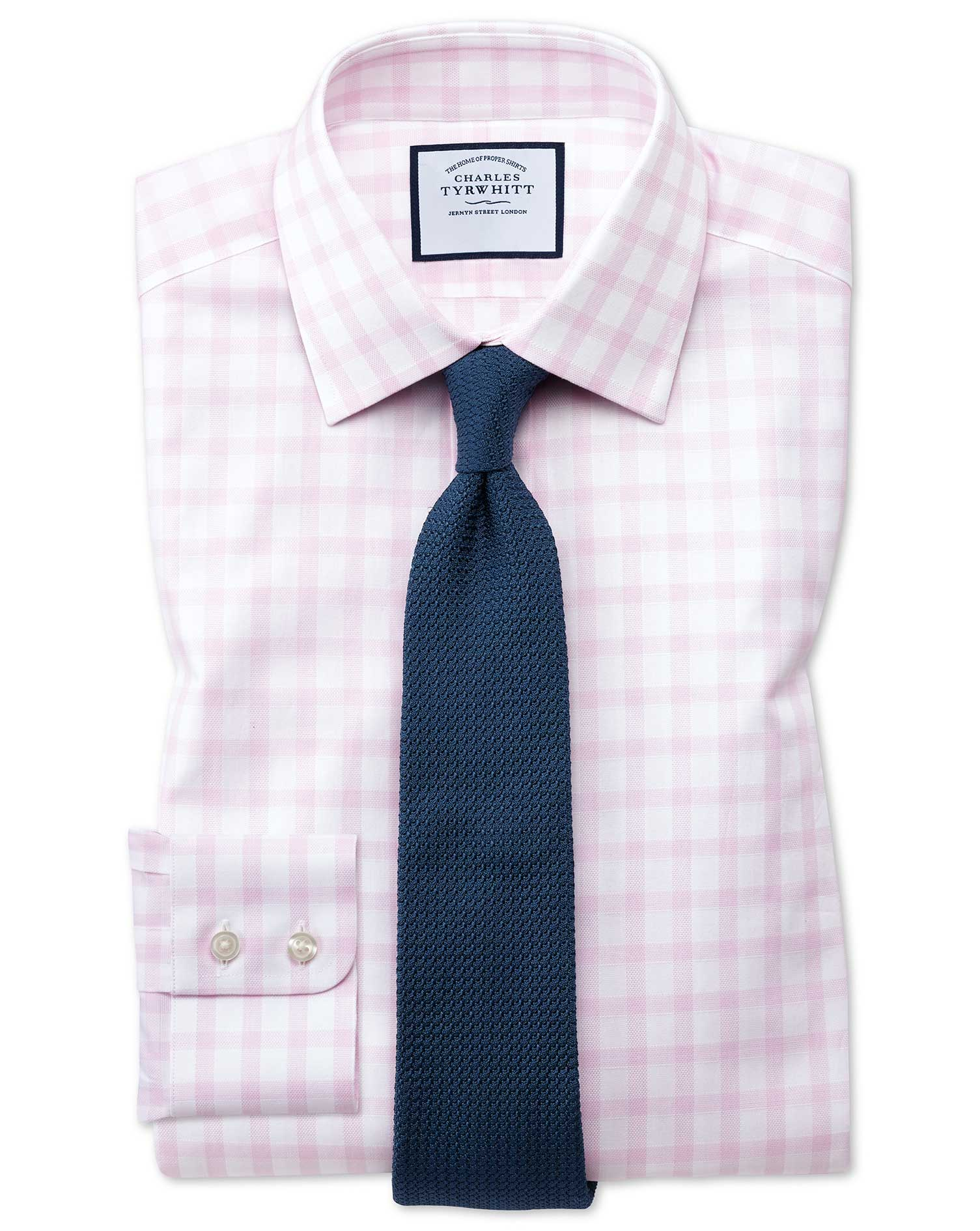 Classic Fit Windowpane Check Pink Cotton Formal Shirt Single Cuff Size 16/34 by Charles Tyrwhitt