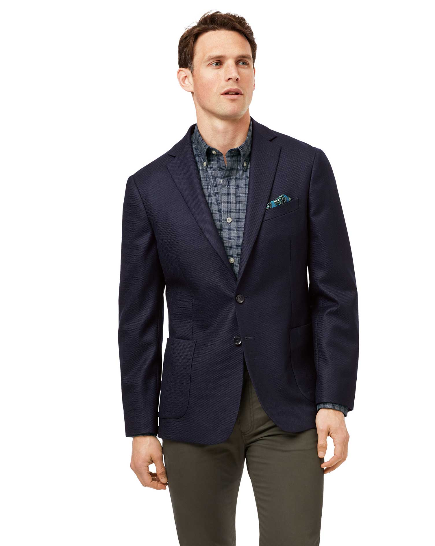 Wool Slim Fit Navy Textured Modern Unlined Jacket