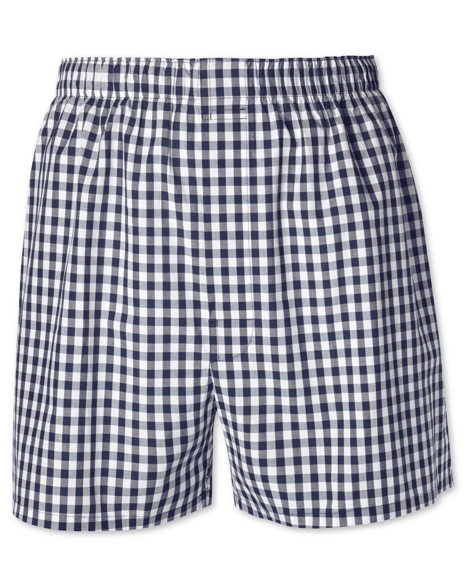 Navy Gingham Woven Boxers Size Small by Charles Tyrwhitt