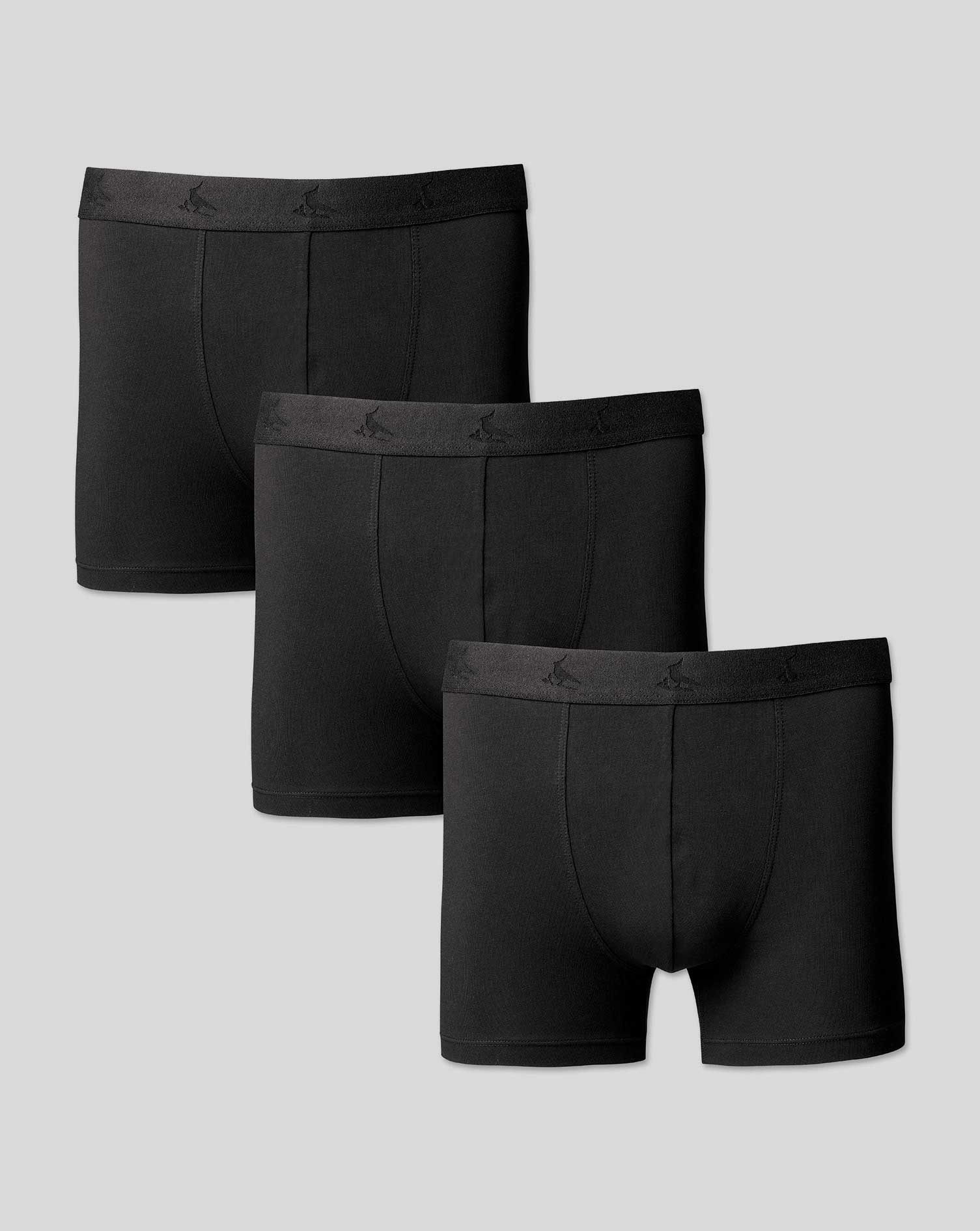 Image of Charles Tyrwhitt 3 Pack Cotton Stretch Jersey Trunks - Black Size Large by Charles Tyrwhitt