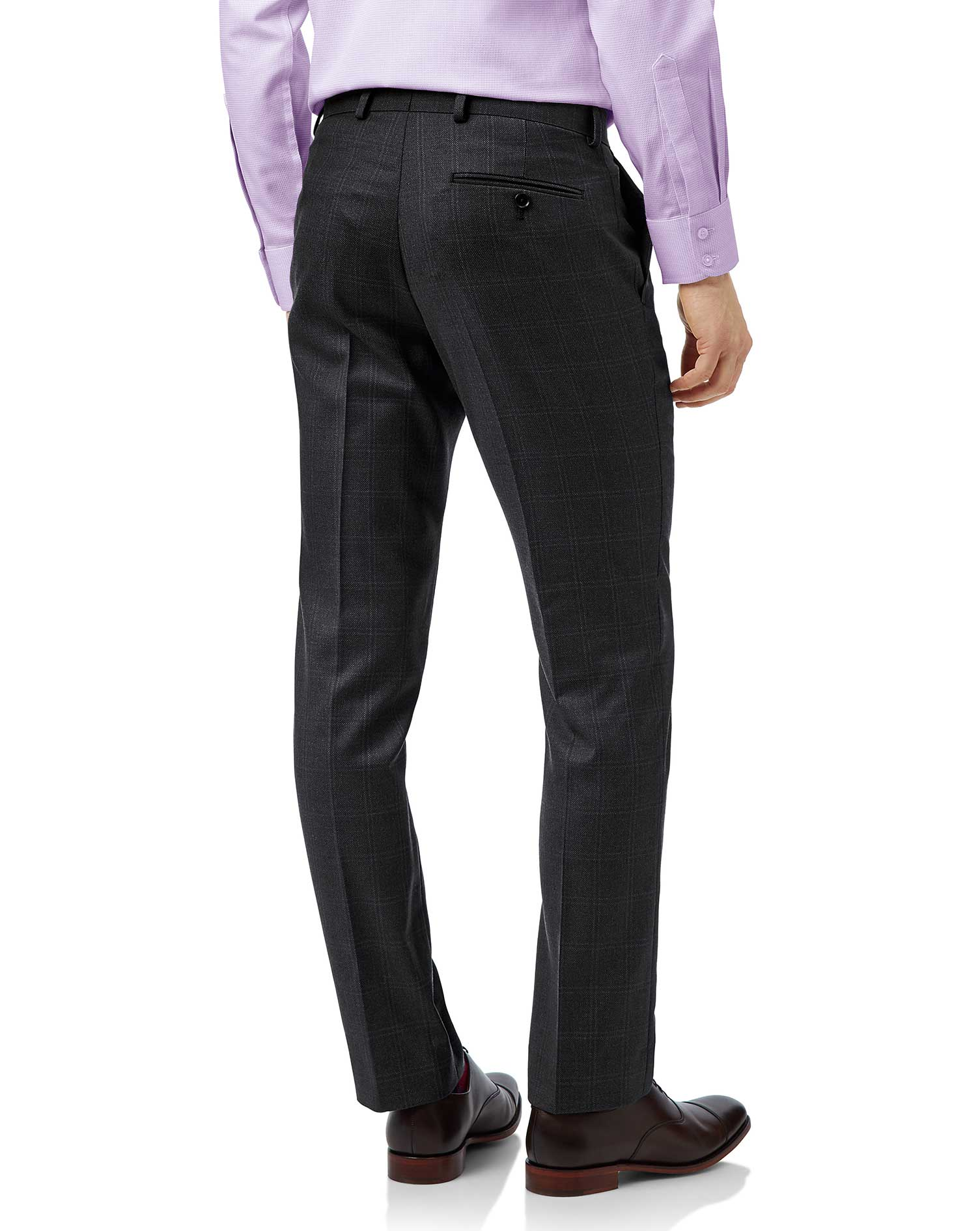 Grey slim fit birdseye travel suit trousers