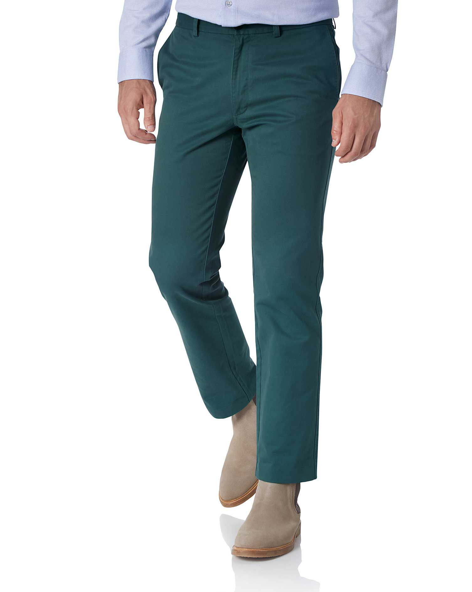 Teal Slim Fit Flat Front Washed Cotton Chino Trousers Size W40 L32 by Charles Tyrwhitt
