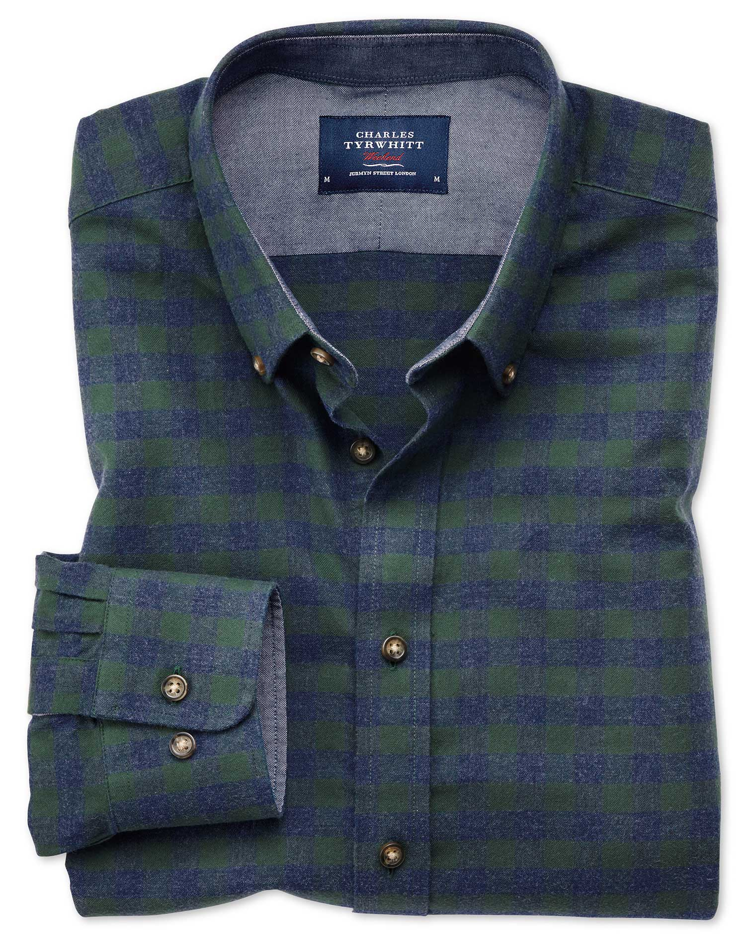 Classic Fit Button-Down Soft Cotton Green and Blue Check Shirt Single Cuff Size XL by Charles Tyrwhi