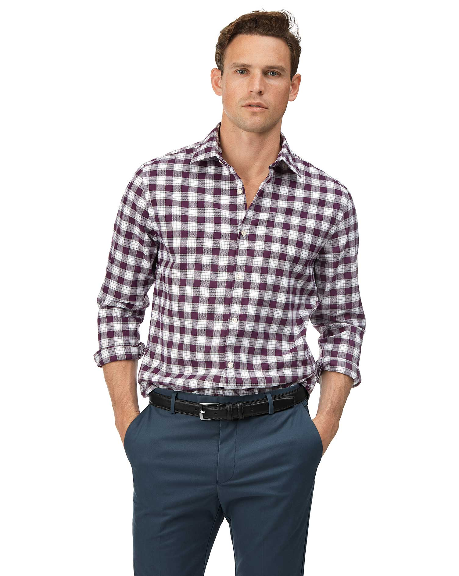Extra Slim Fit Soft Washed Non-Iron Stretch Oxford Berry and White Check Cotton Shirt Single Cuff Si