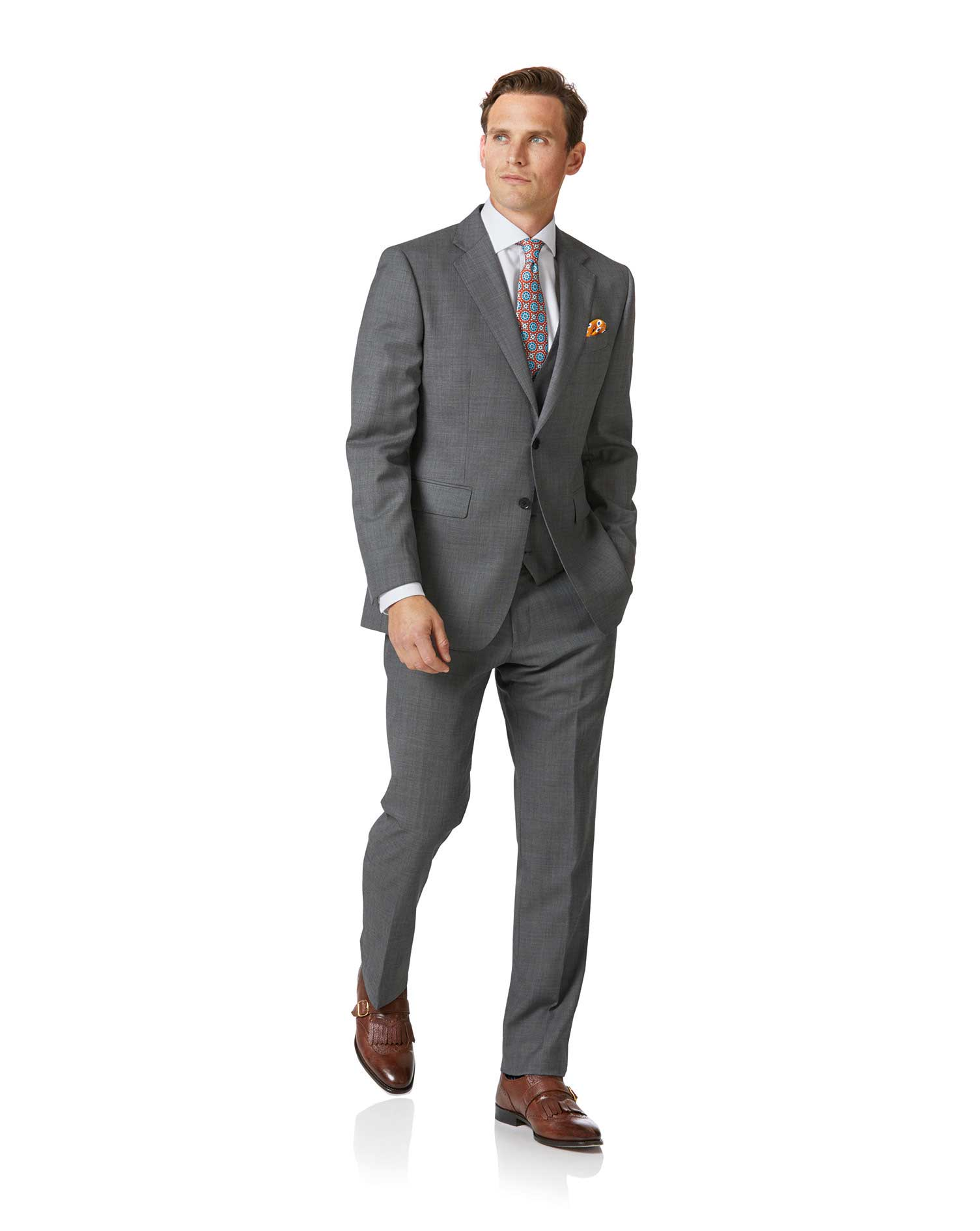 Light grey slim fit sharkskin travel suit jacket