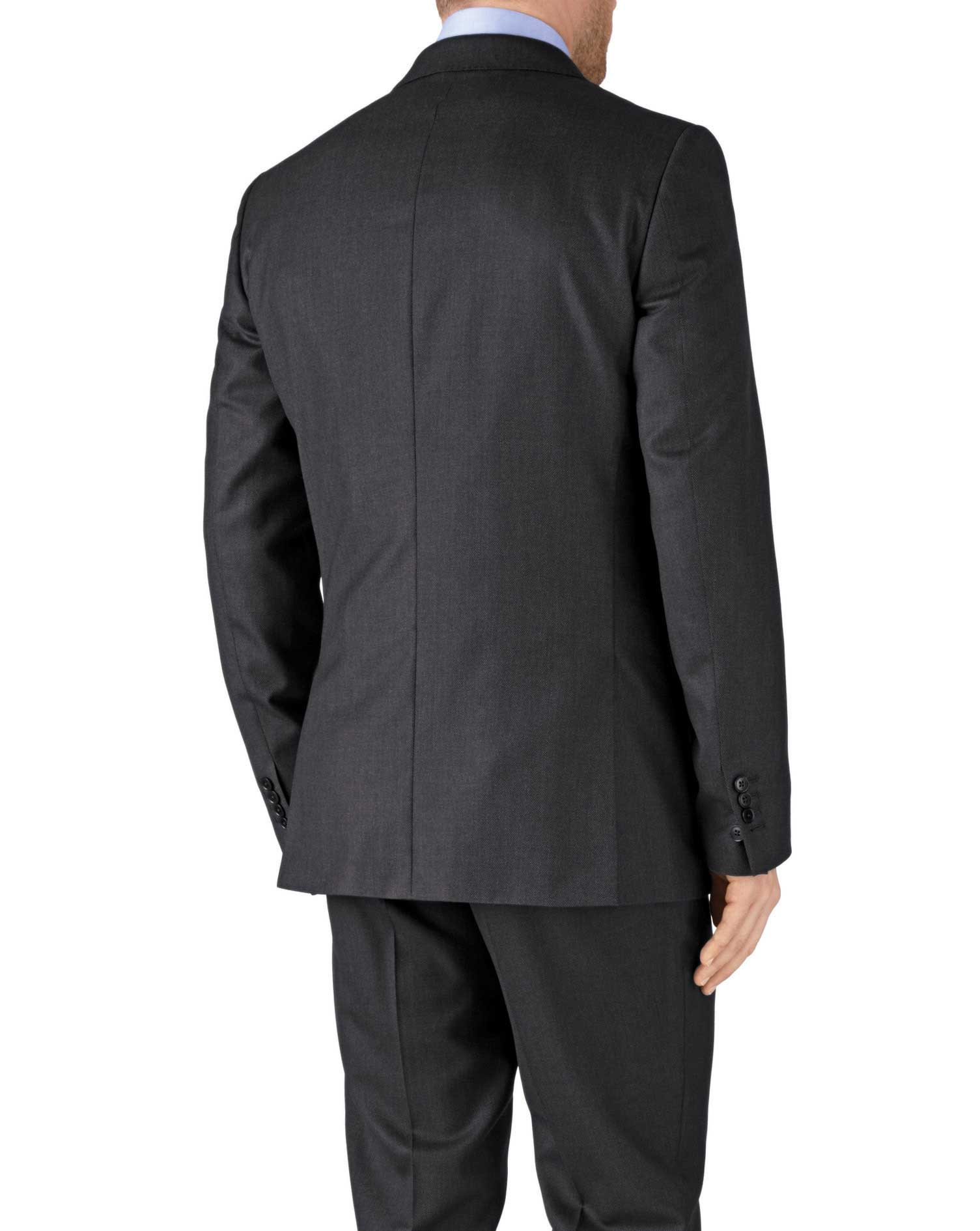 Charcoal slim fit birdseye travel suit jacket