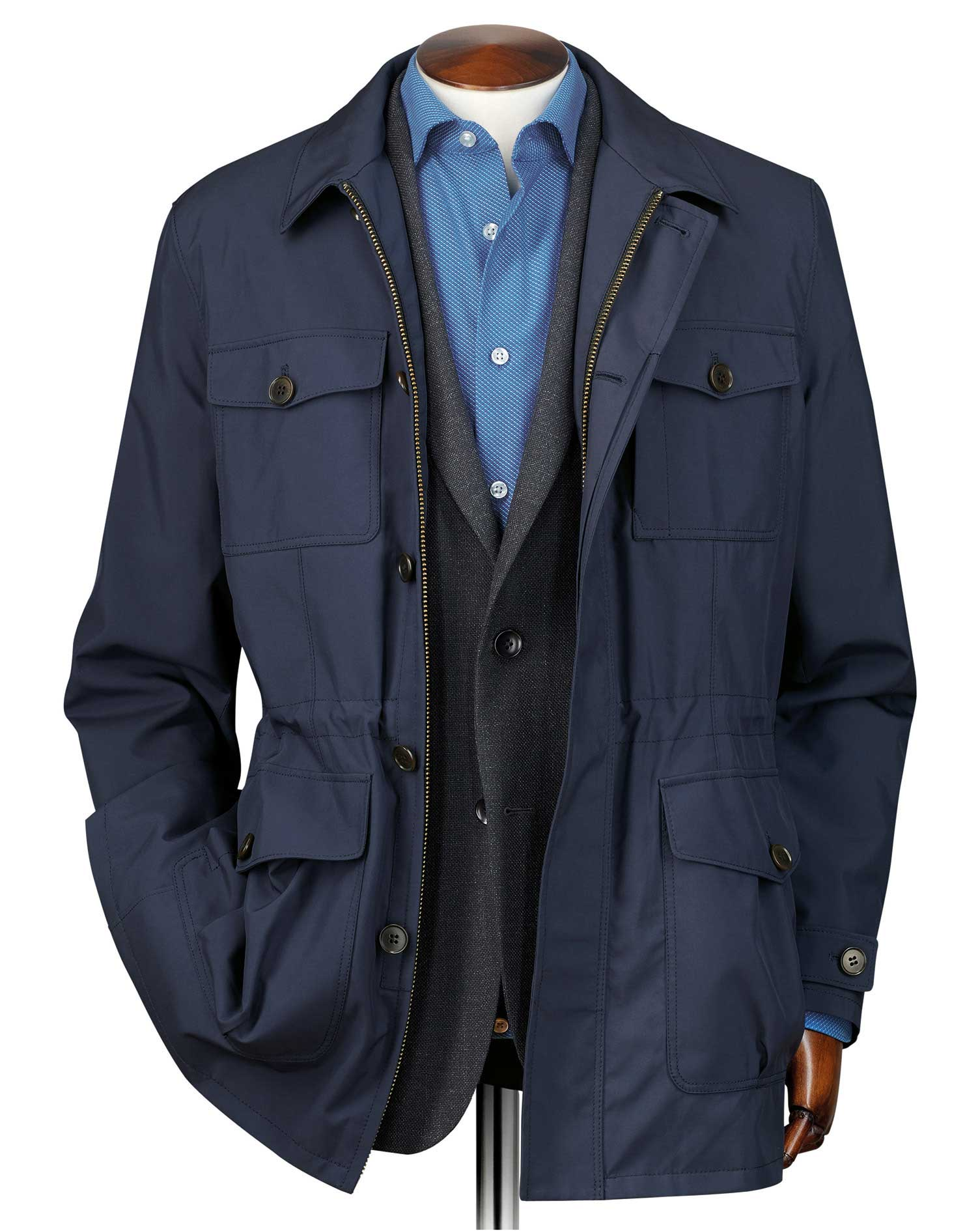 Navy Showerproof Field Coat Size 44 Regular by Charles Tyrwhitt