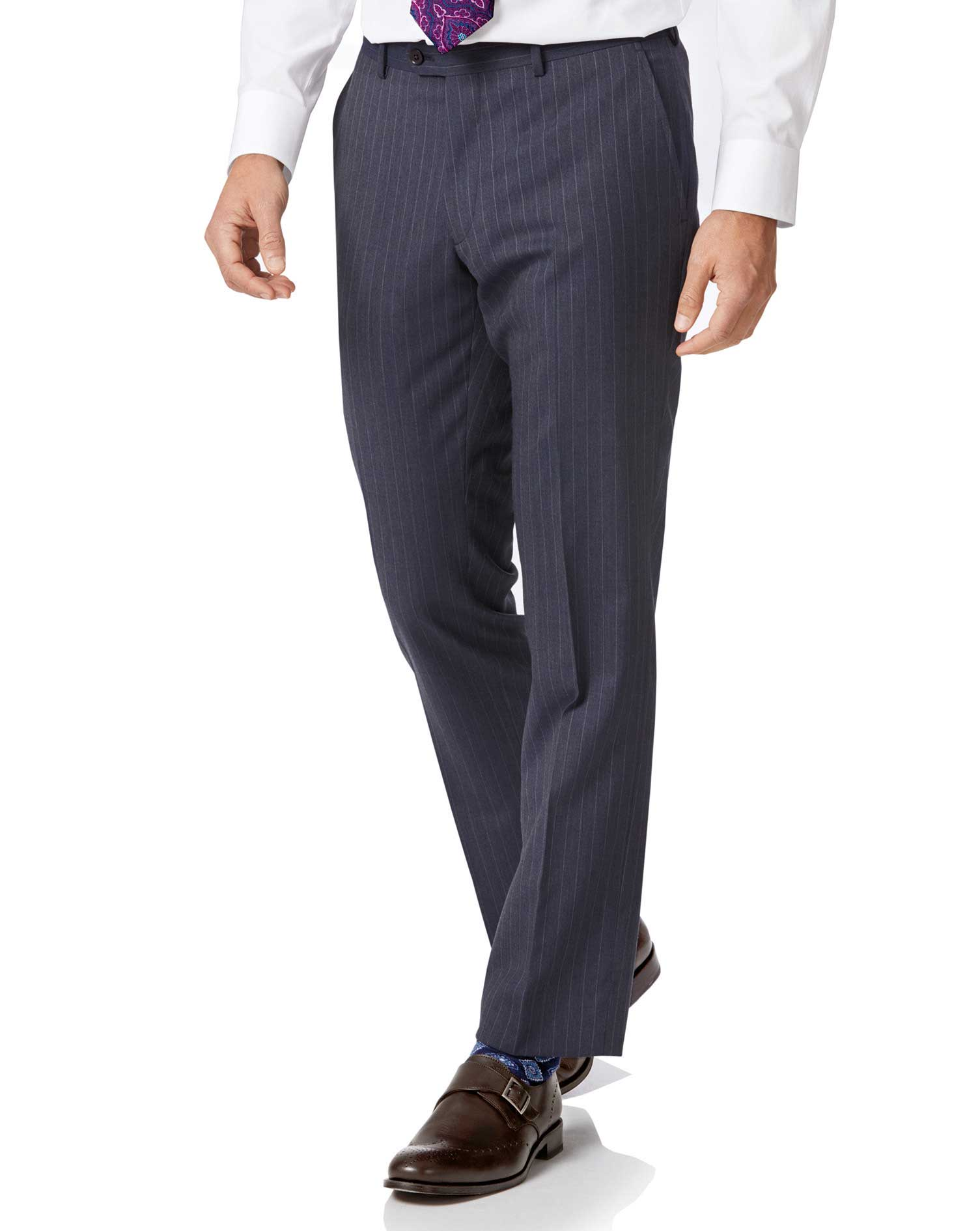 Image of Charles Tyrwhitt Airforce Stripe Slim Fit Panama Business Suit Trousers Size W81 L86 by Charles Tyrwhitt