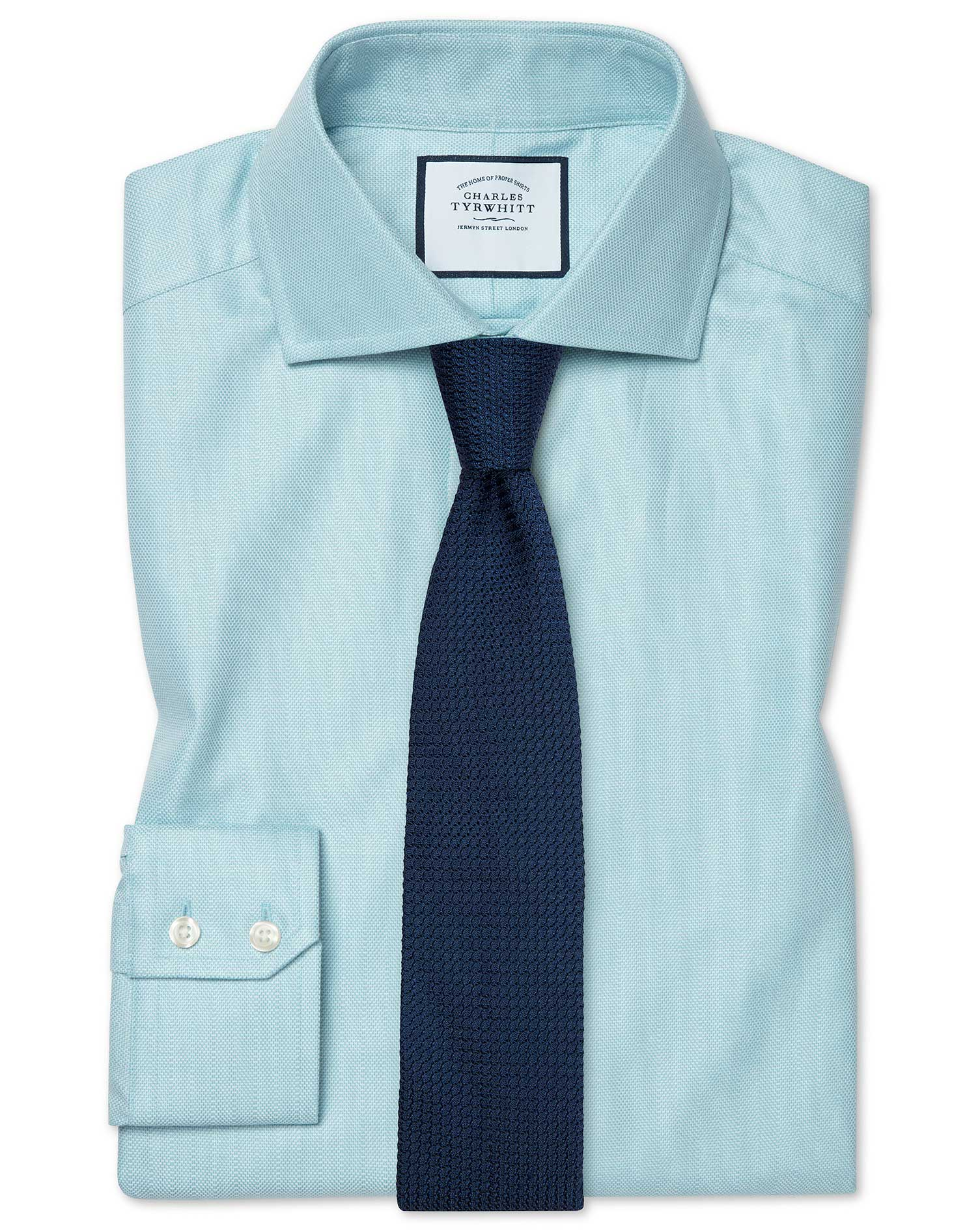 Cotton Tencel Extra Slim Fit Cutaway Cotton Stretch With Tencel™ Teal Shirt