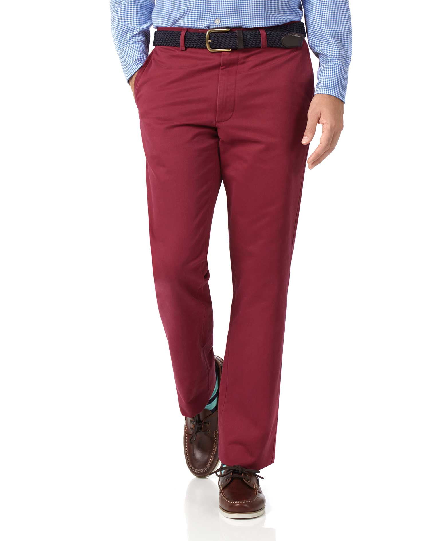 Red Classic Fit Flat Front Washed Cotton Chino Trousers Size W38 L32 by Charles Tyrwhitt