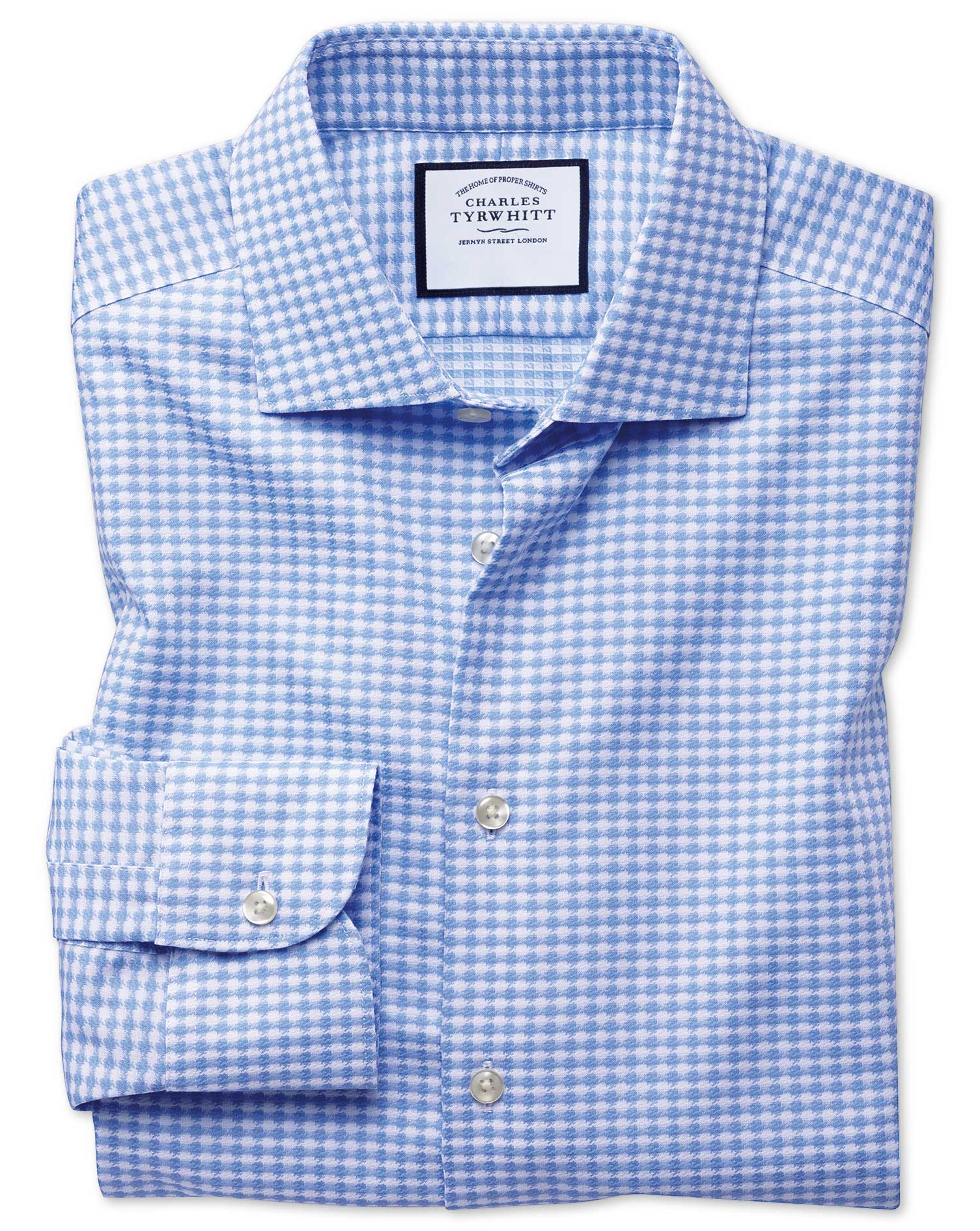 Slim Fit Semi-Cutaway Business Casual Non-Iron Modern Textures Sky Blue Dogtooth Cotton Formal Shirt