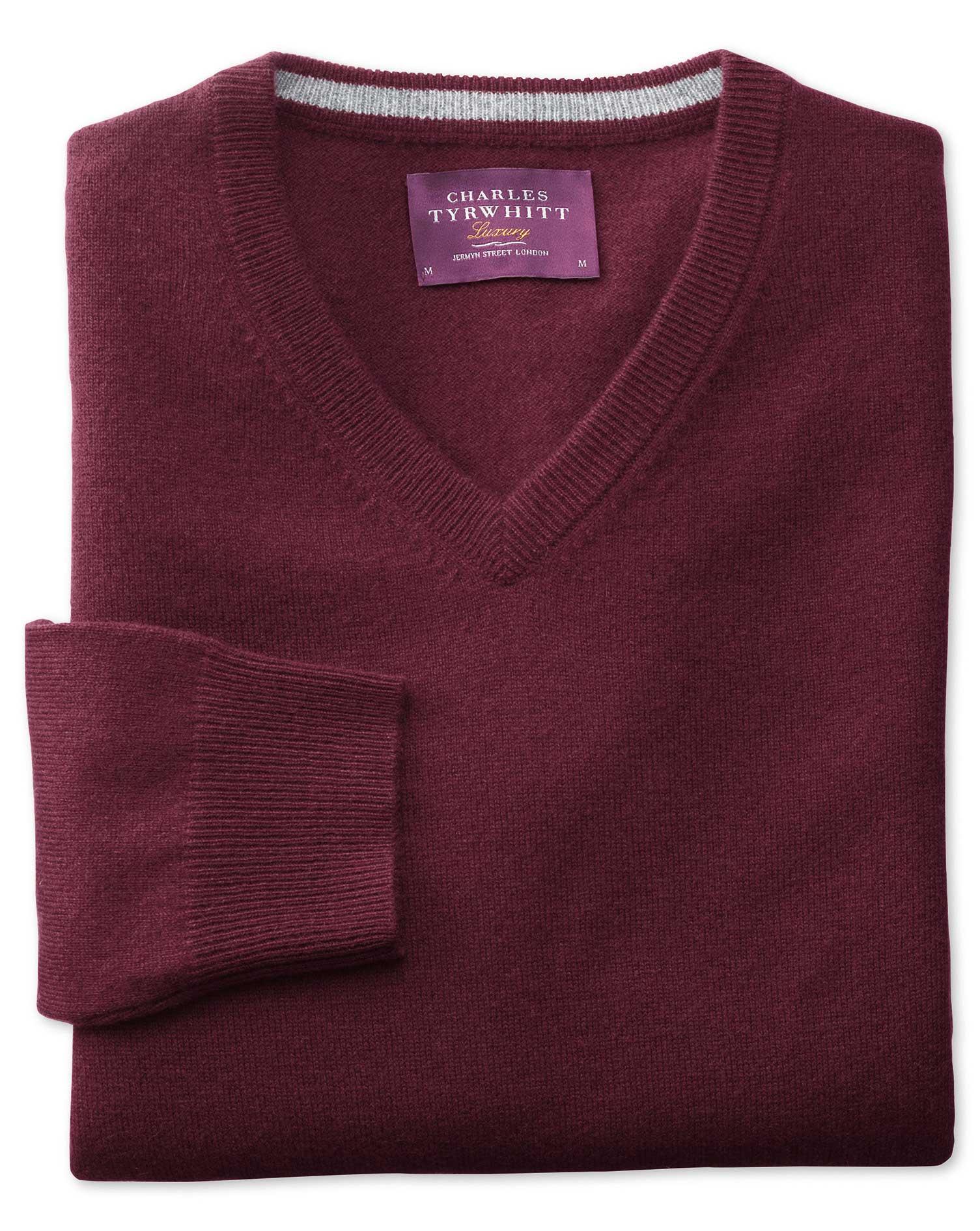 Wine cashmere v-neck sweater | Charles Tyrwhitt