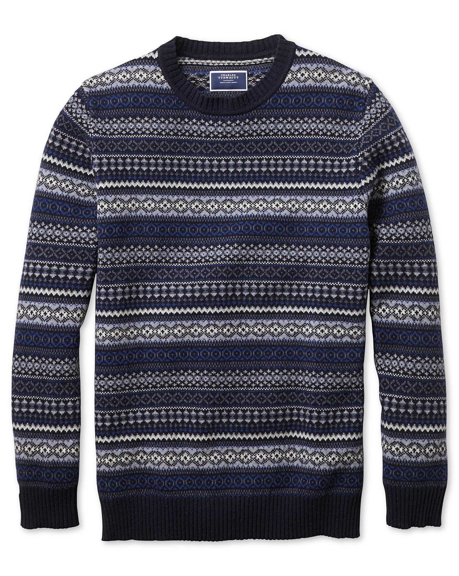 Navy and Blue Crew Neck Fair Isle Wool Jumper Size Large by Charles Tyrwhitt