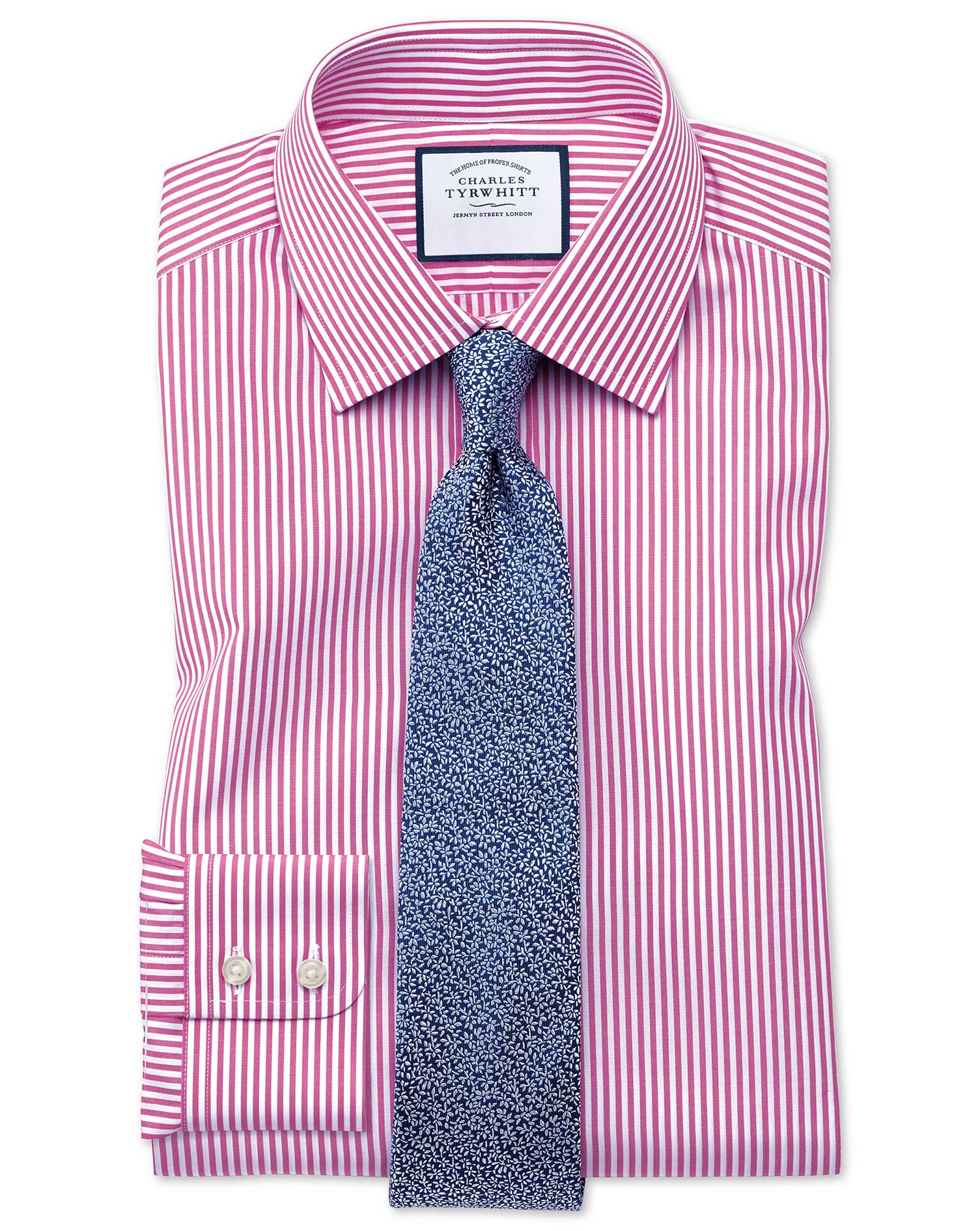 Slim Fit Bengal Stripe Pink Cotton Formal Shirt Single Cuff Size 16.5/35 by Charles Tyrwhitt