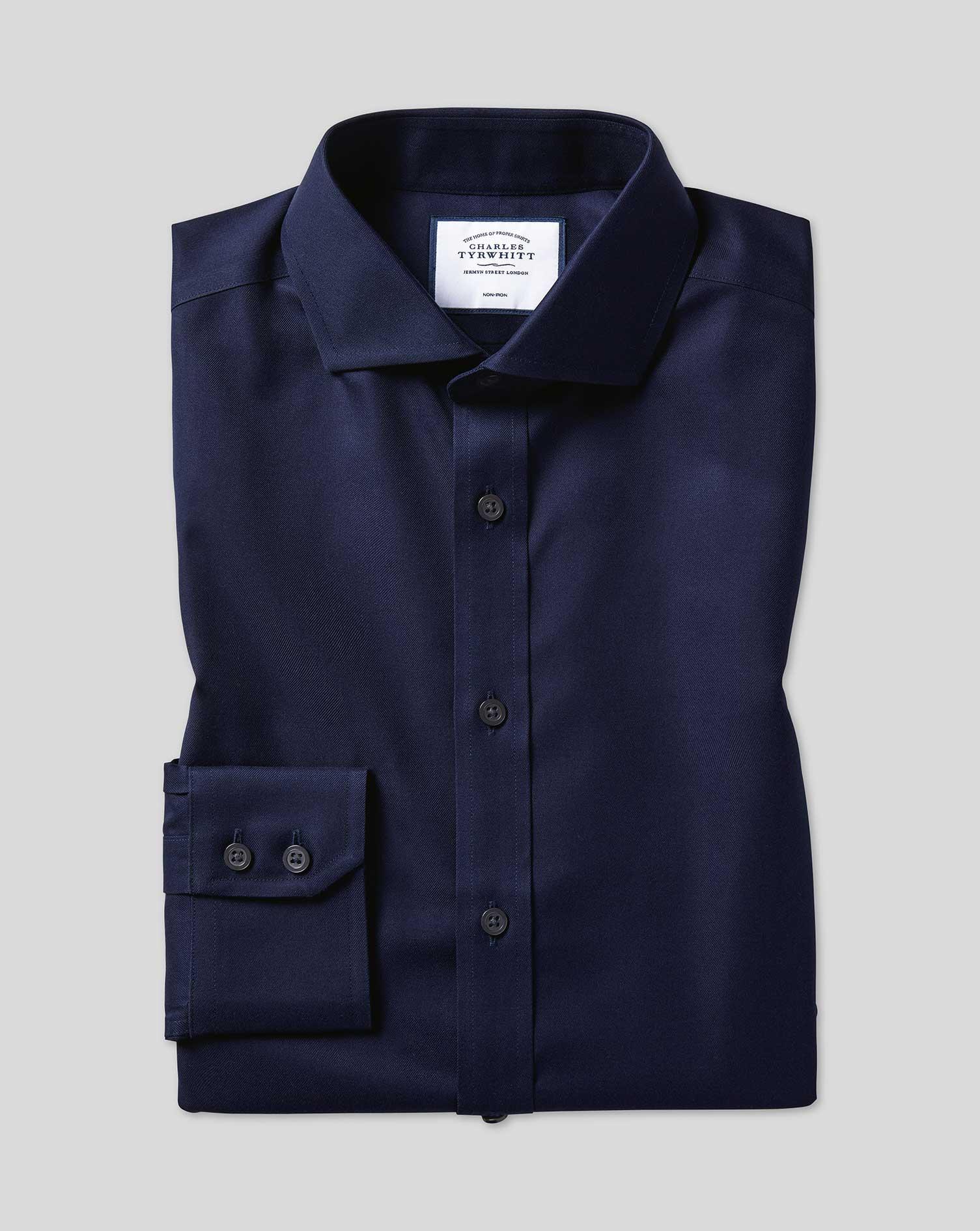 Cotton Slim Fit Navy Cutaway Non-Iron Twill Shirt