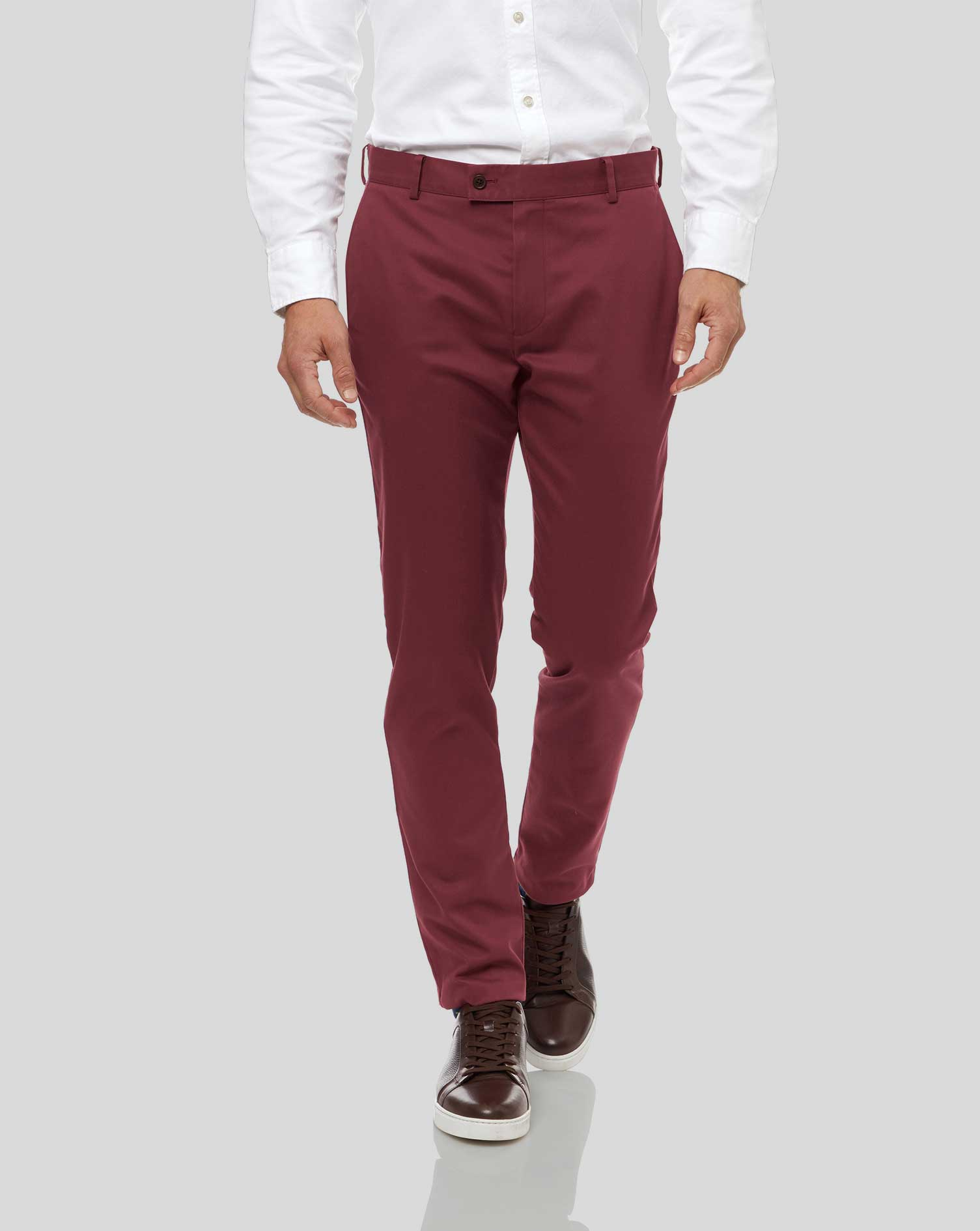 Image of Charles Tyrwhitt Ultimate Non-Iron Cotton Chino Pants - Berry Size W102 L76 by Charles Tyrwhitt