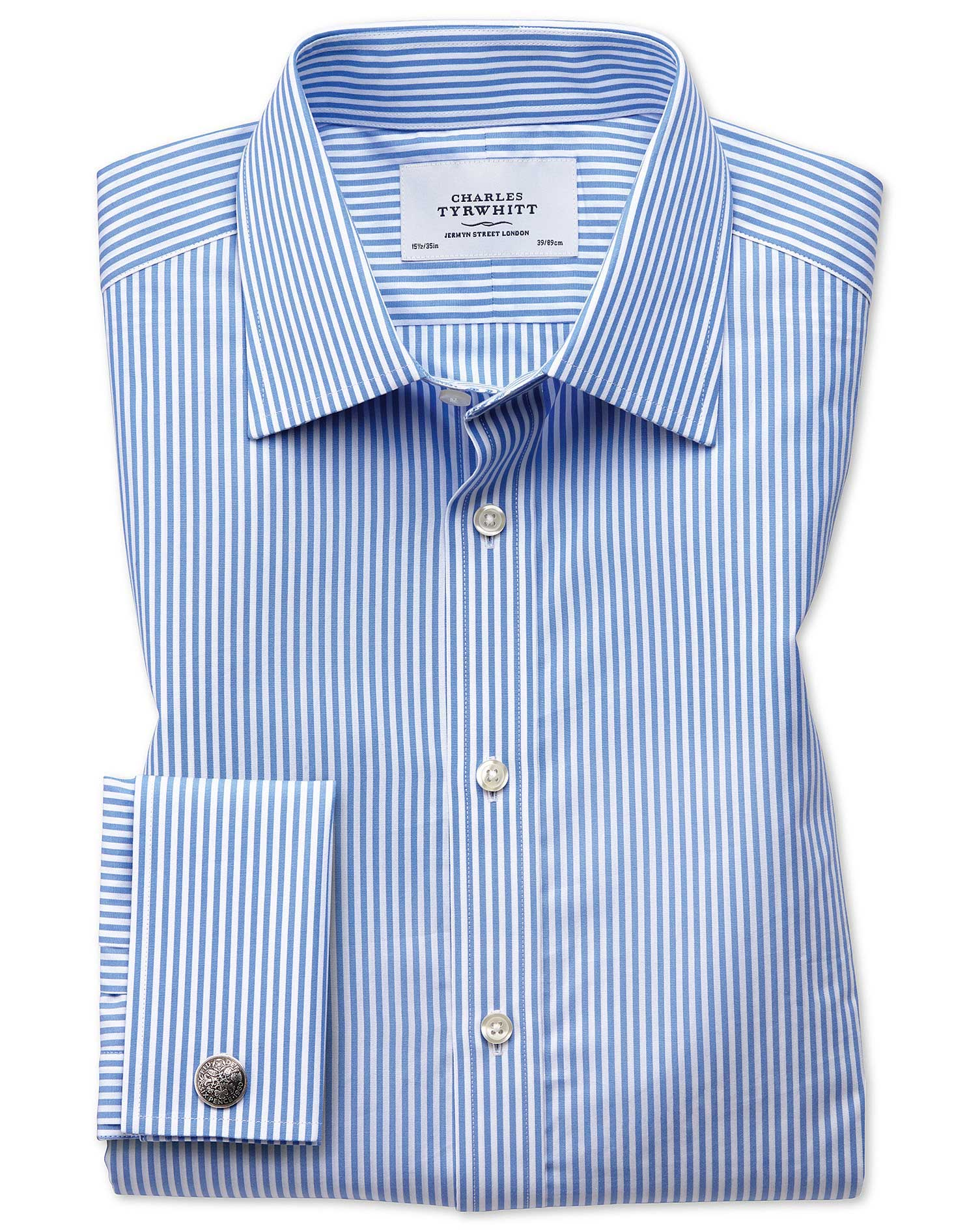 Classic Fit Bengal Stripe Sky Blue Cotton Formal Shirt Single Cuff Size 17.5/34 by Charles Tyrwhitt