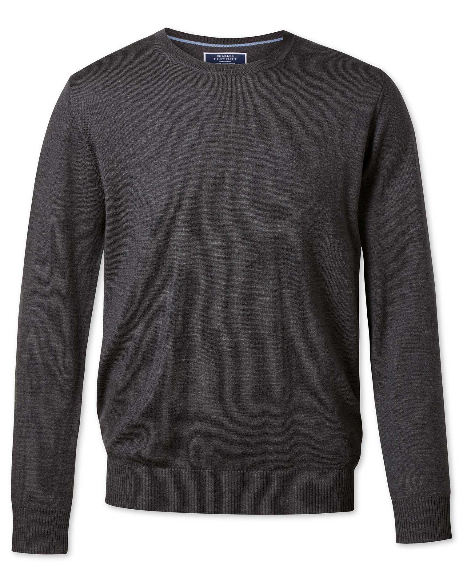 Charcoal Merino Wool Crew Neck Jumper Size XXL by Charles Tyrwhitt