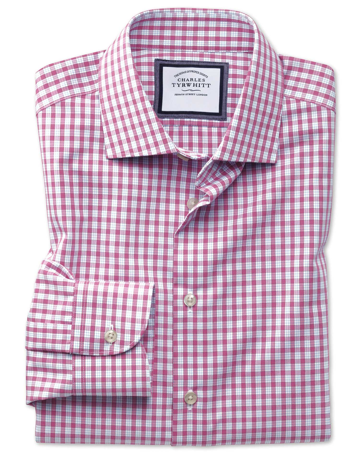 Classic Fit Semi-Cutaway Non-Iron Business Casual Pink Check Cotton Formal Shirt Single Cuff Size 16