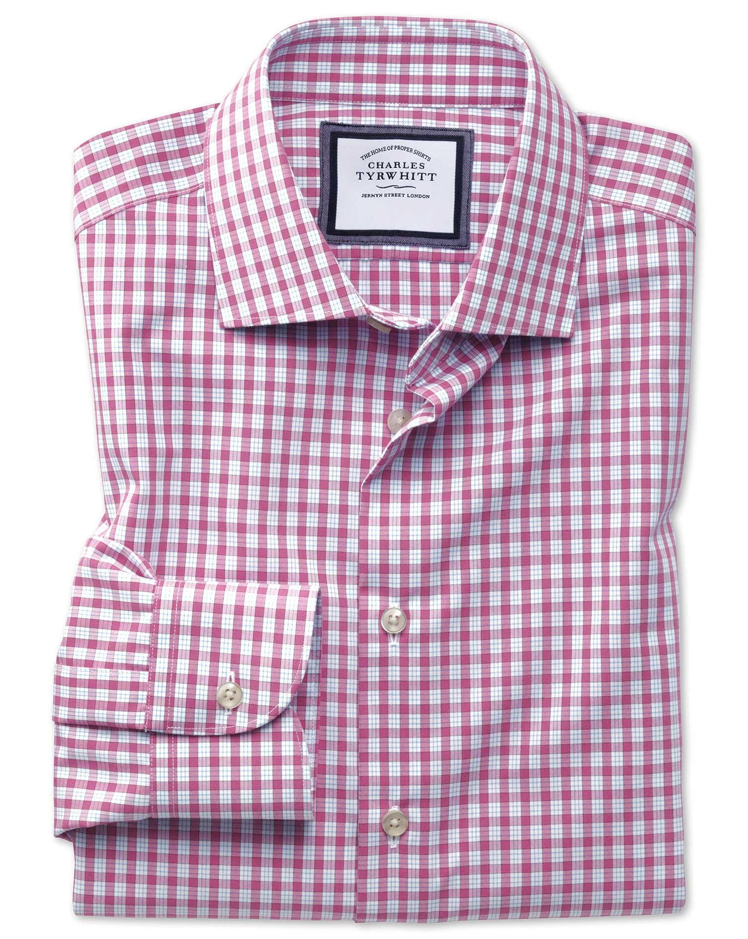 Slim Fit Semi-Cutaway Non-Iron Business Casual Pink Check Cotton Formal Shirt Single Cuff Size 17/38