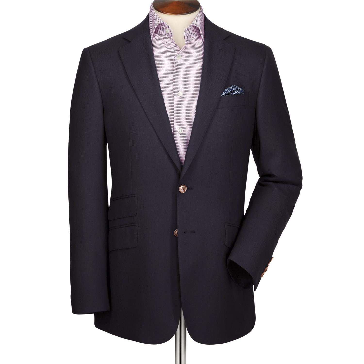 Navy Classic Fit Textured Wool Wool Blazer Size 42 Short by Charles Tyrwhitt