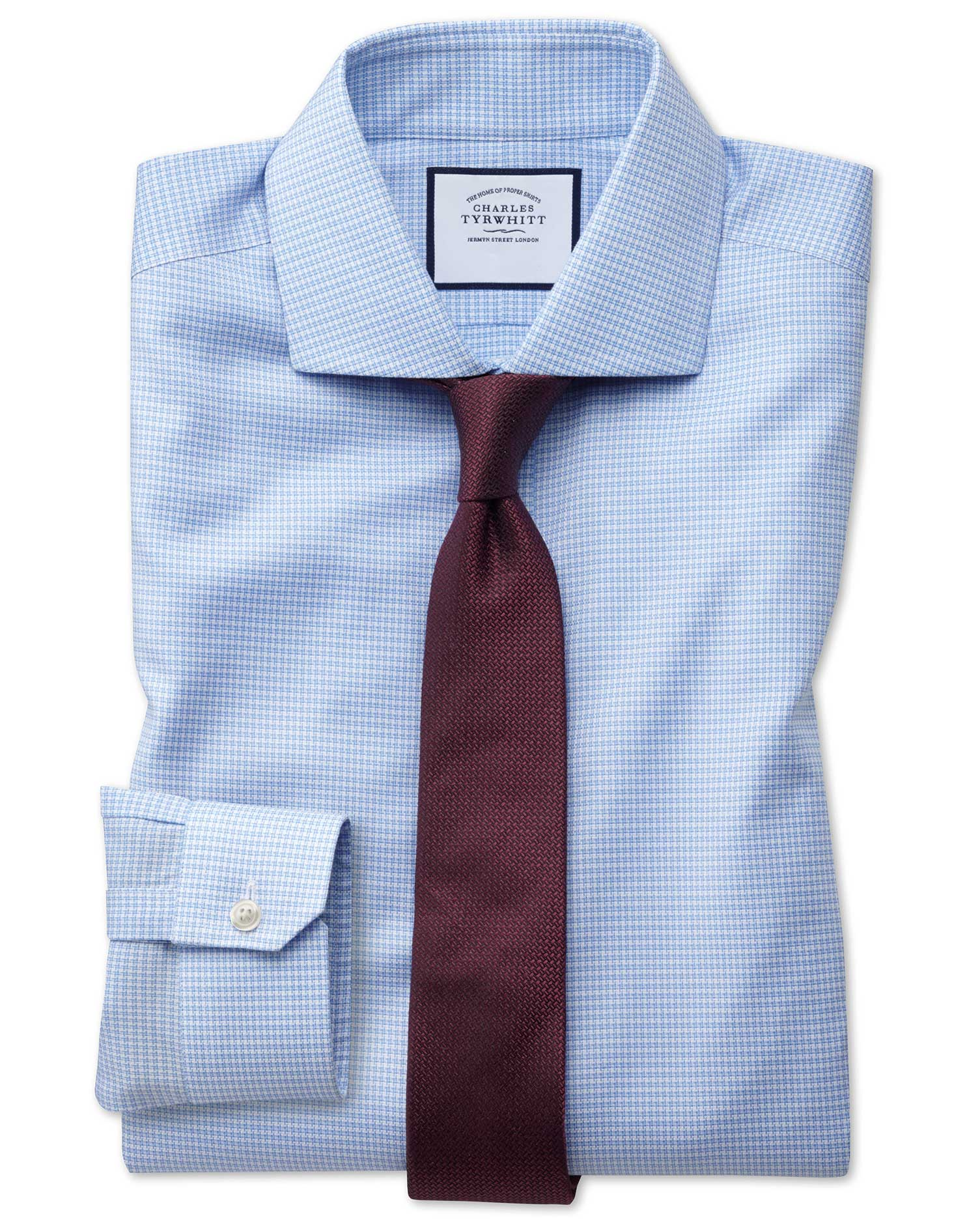 Super Slim Fit Non-Iron Cutaway Collar Sky Blue Puppytooth Oxford Stretch Cotton Formal Shirt Single