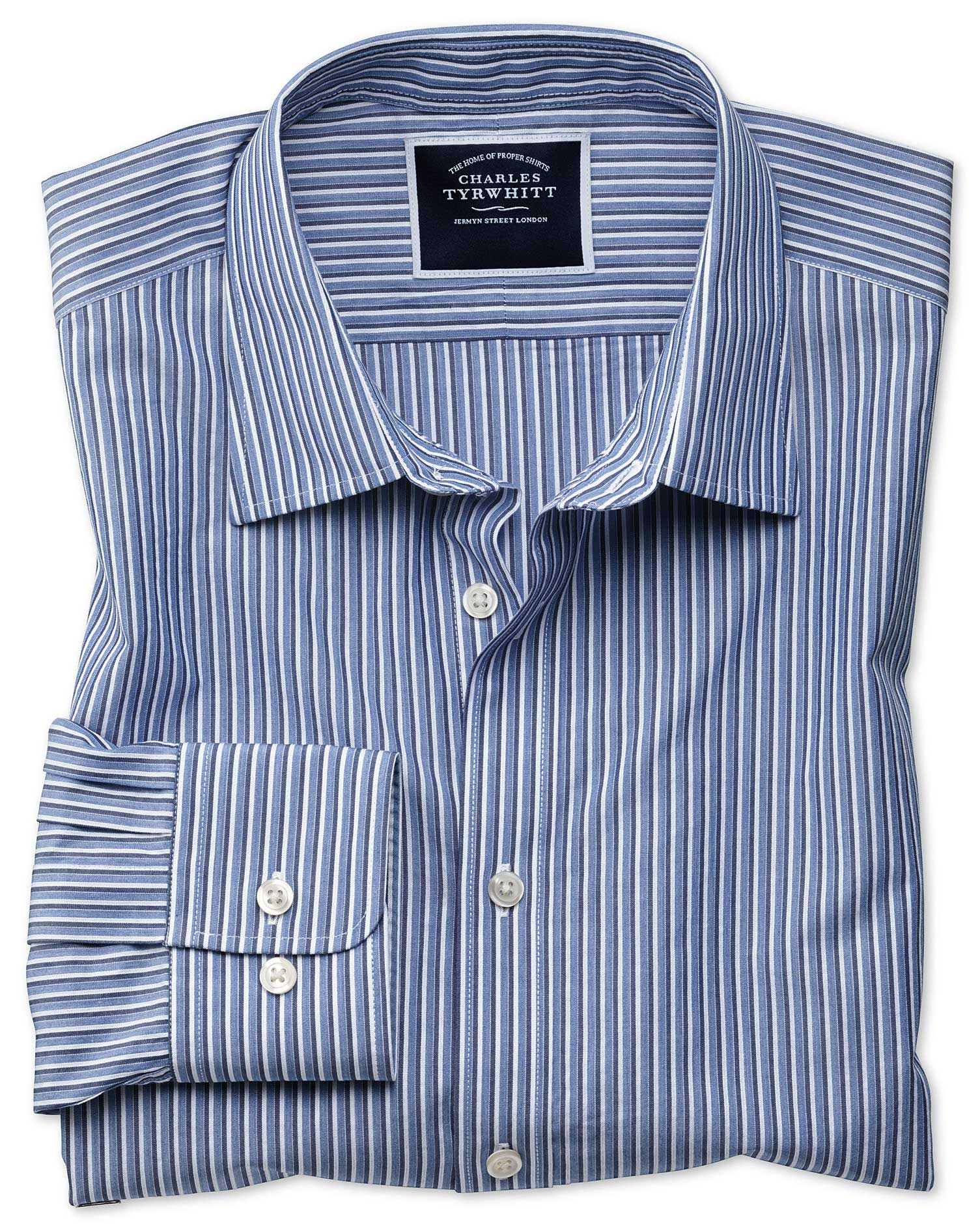 Slim Fit Blue Stripe Soft Washed Cotton Shirt Single Cuff Size XXL by Charles Tyrwhitt