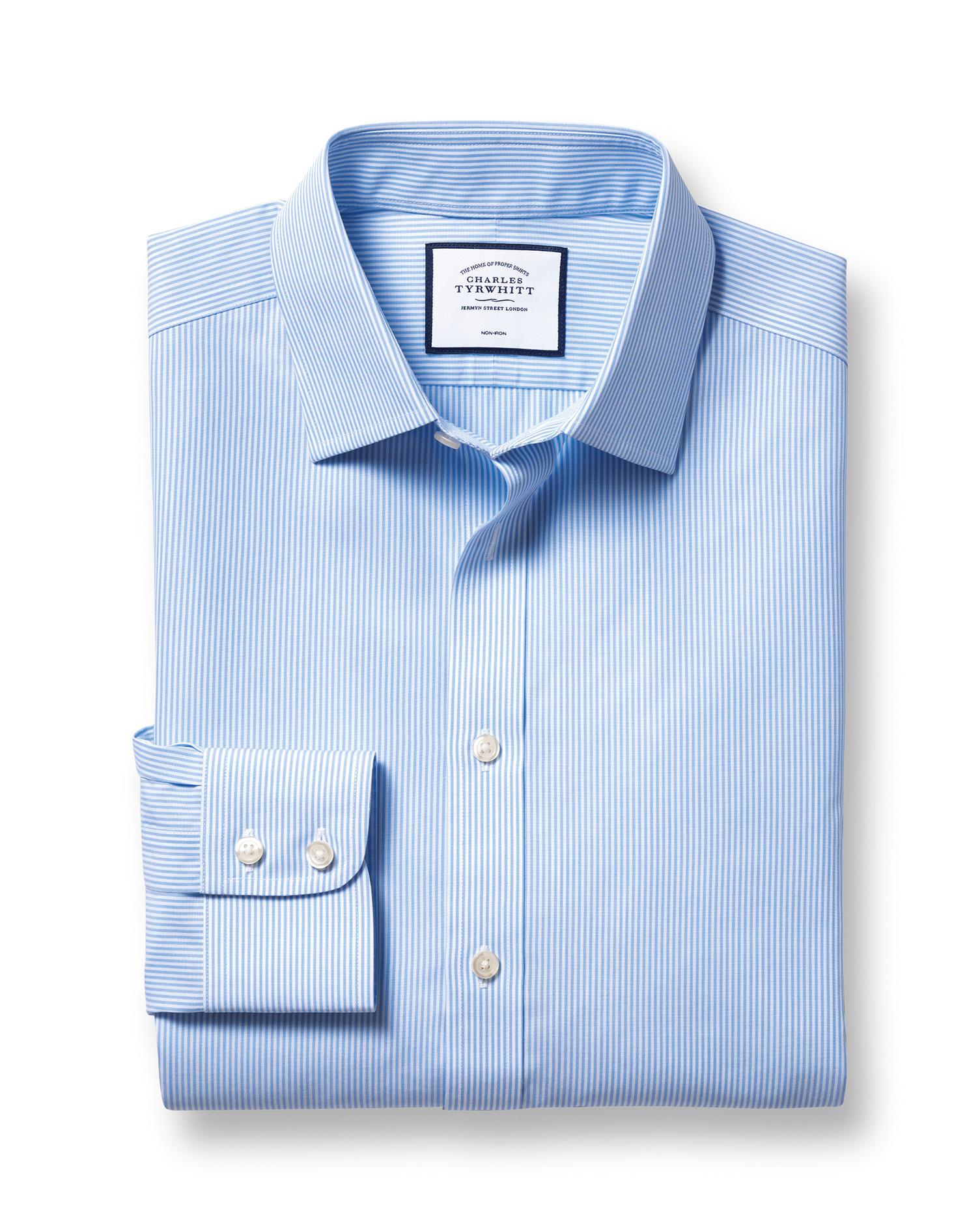 Slim Fit Non-Iron Sky Blue Bengal Stripe Cotton Formal Shirt by Charles Tyrwhitt