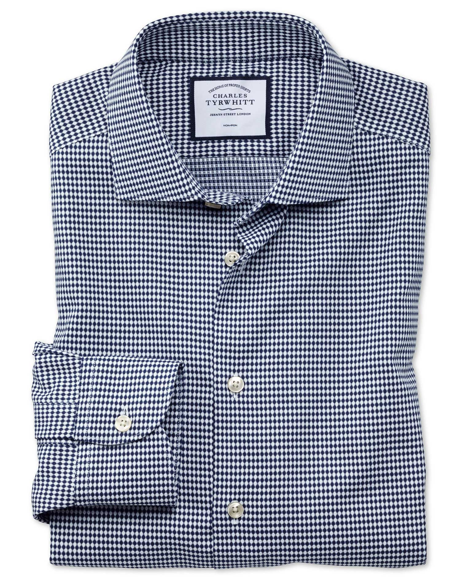 Extra Slim Fit Business Casual Non-Iron Navy Oval Dobby Cotton Formal Shirt Single Cuff Size 15/32 b