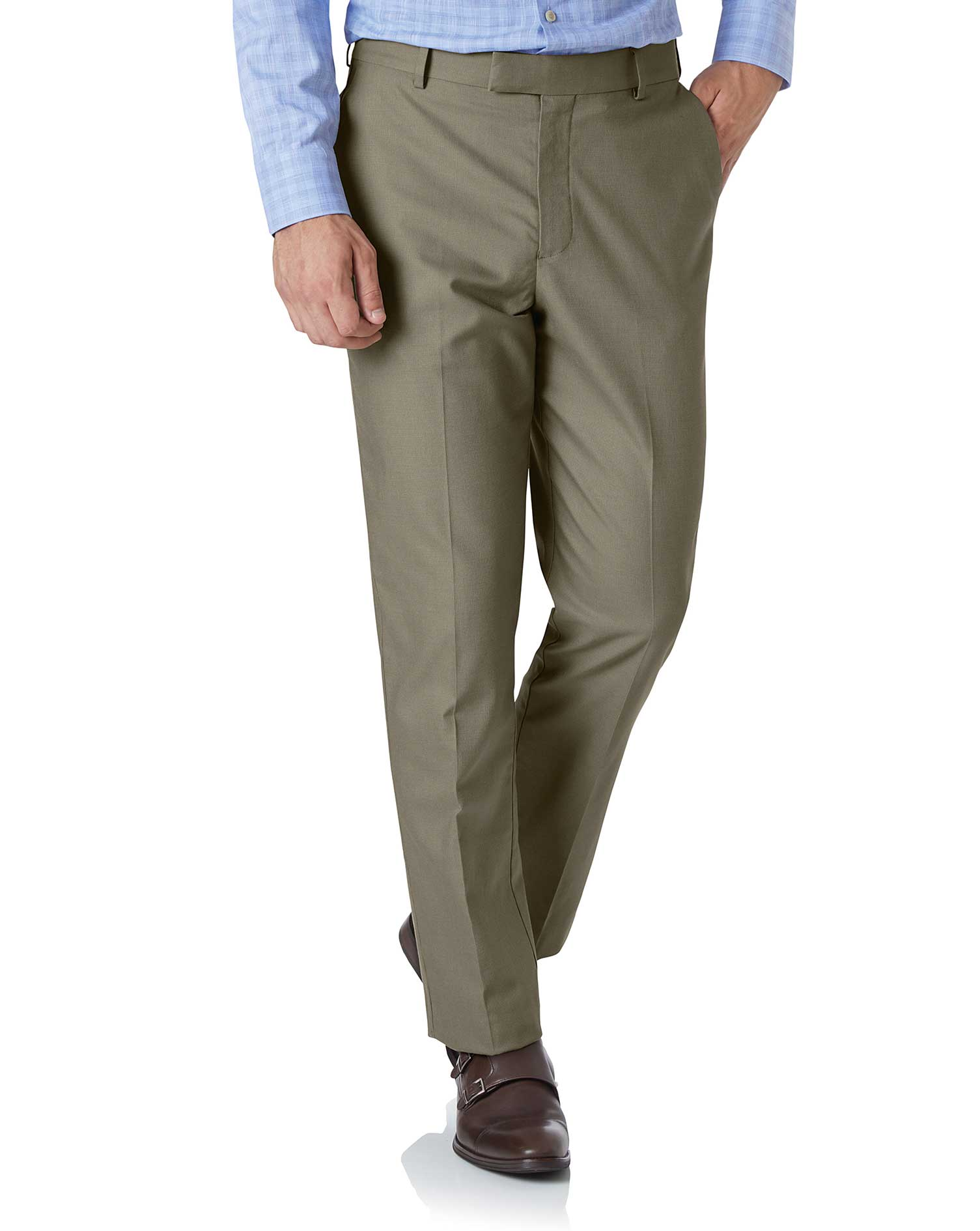 Olive Classic Fit Stretch Non-Iron Trousers Size W32 L32 by Charles Tyrwhitt