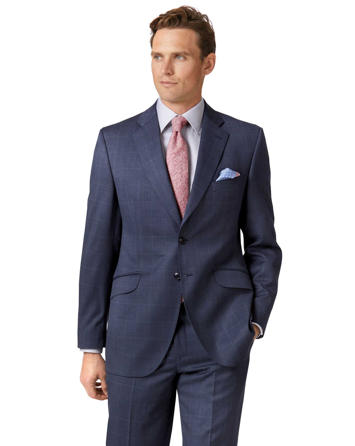 Airforce Blue Classic Fit Italian Suit Wool Jacket Size 42 Long by Charles Tyrwhitt