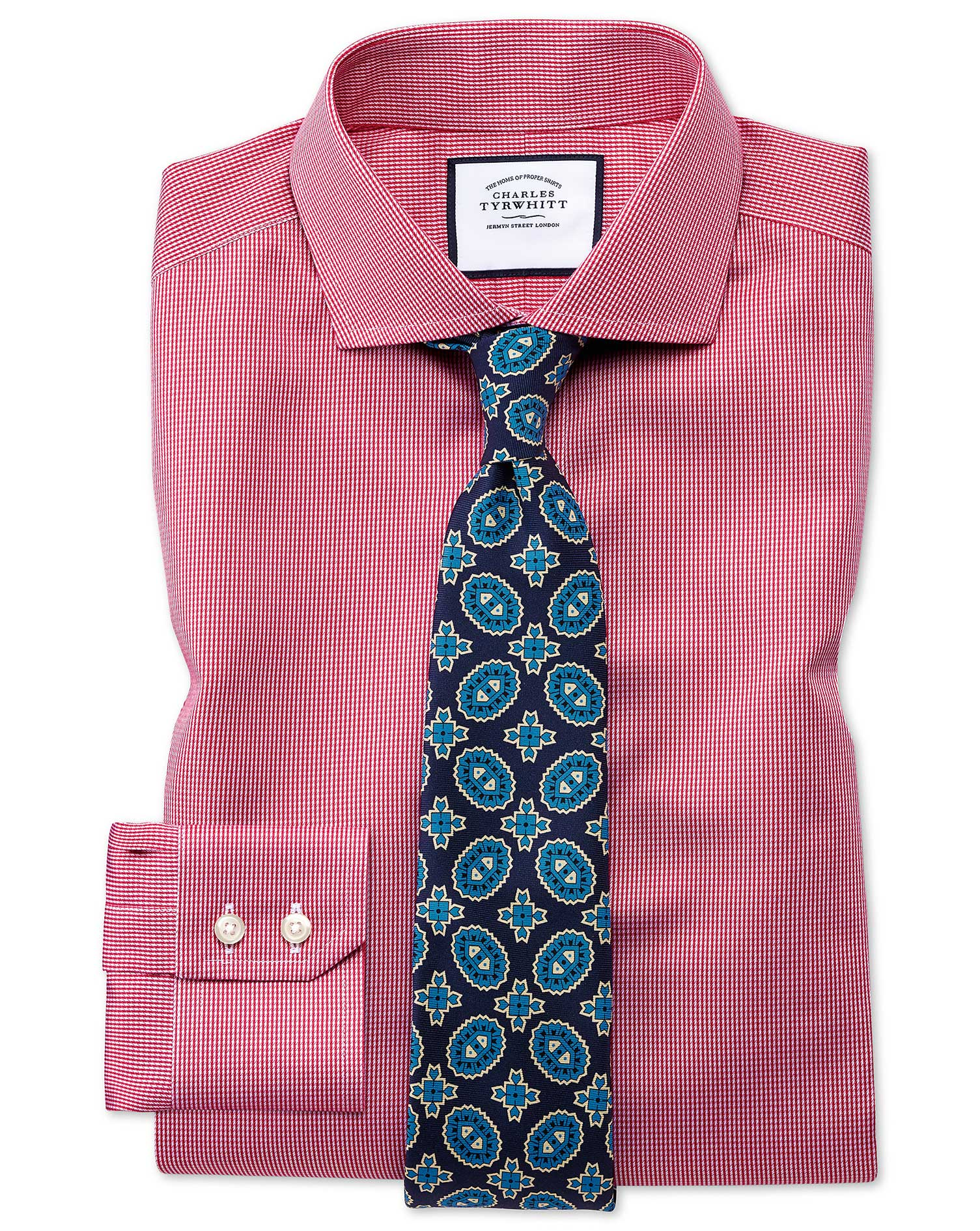 Slim Fit Cutaway Collar Non-Iron Puppytooth Bright Pink Cotton Formal Shirt Single Cuff Size 18/37 b