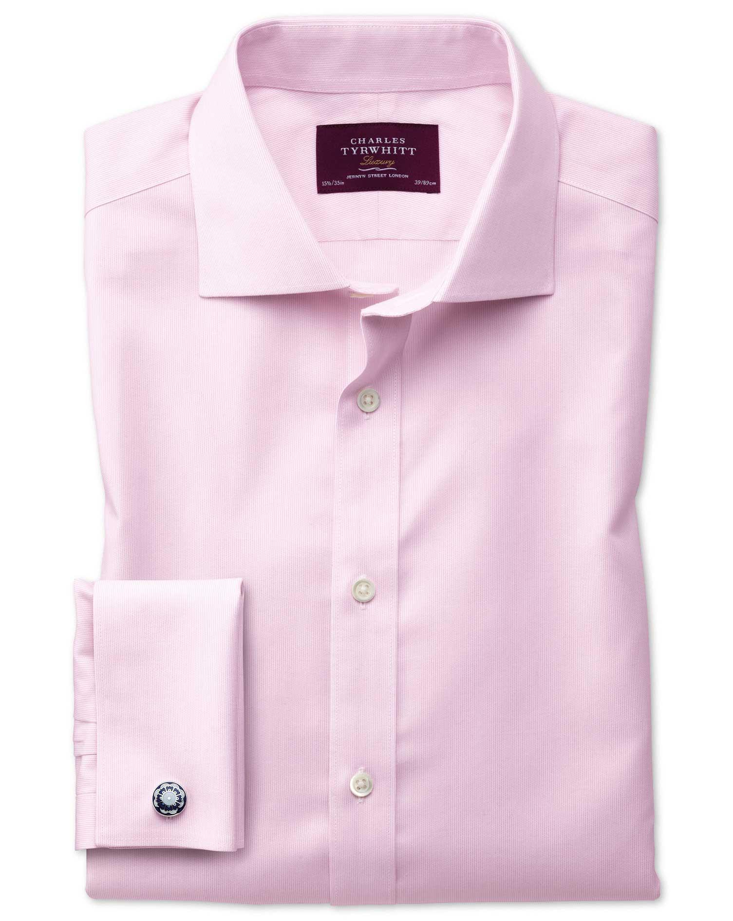 Extra Slim Fit Semi-Cutaway Non-Iron Luxury Hairline Stripe Pink Cotton Formal Shirt Double Cuff Siz