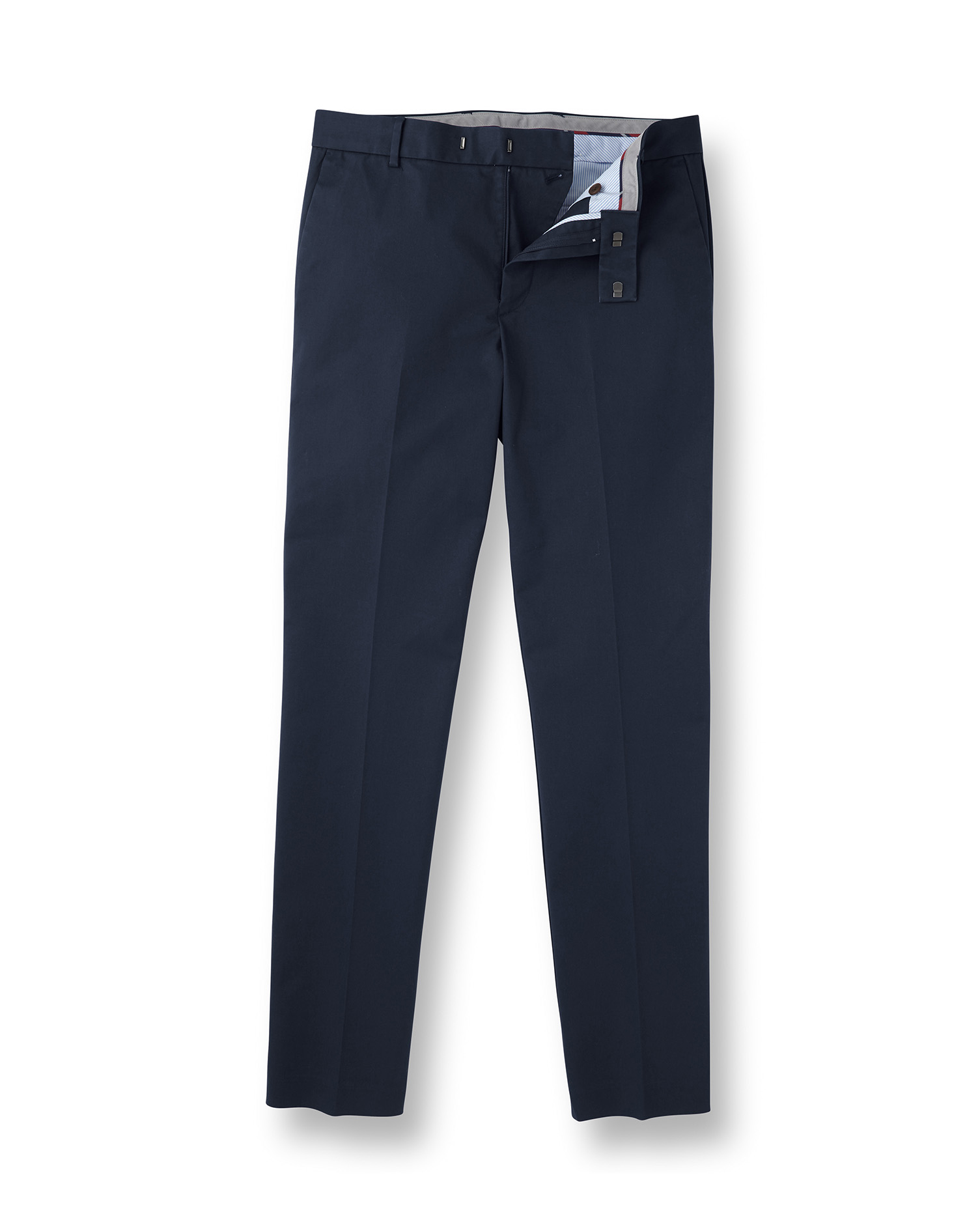 Navy Flat Front Non-Iron Cotton Chino Trousers Size W36 L9 by Charles Tyrwhitt