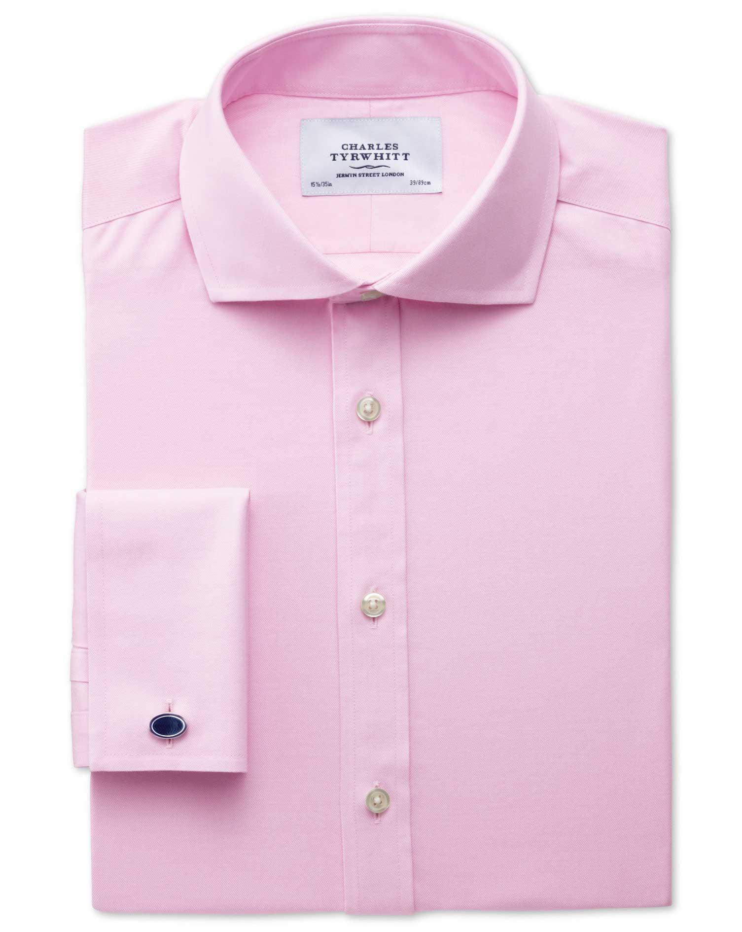 Classic Fit Cutaway Non-Iron Twill Pink Cotton Formal Shirt Double Cuff Size 16/38 by Charles Tyrwhi