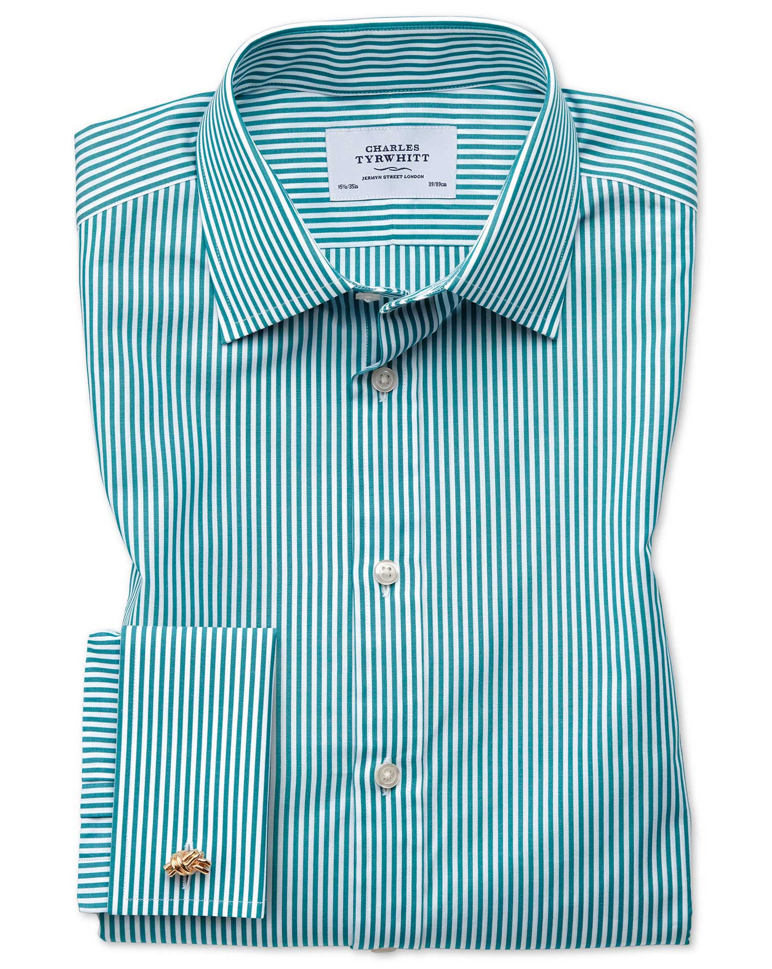 Classic Fit Bengal Stripe Green Cotton Formal Shirt Single Cuff Size 17.5/34 by Charles Tyrwhitt