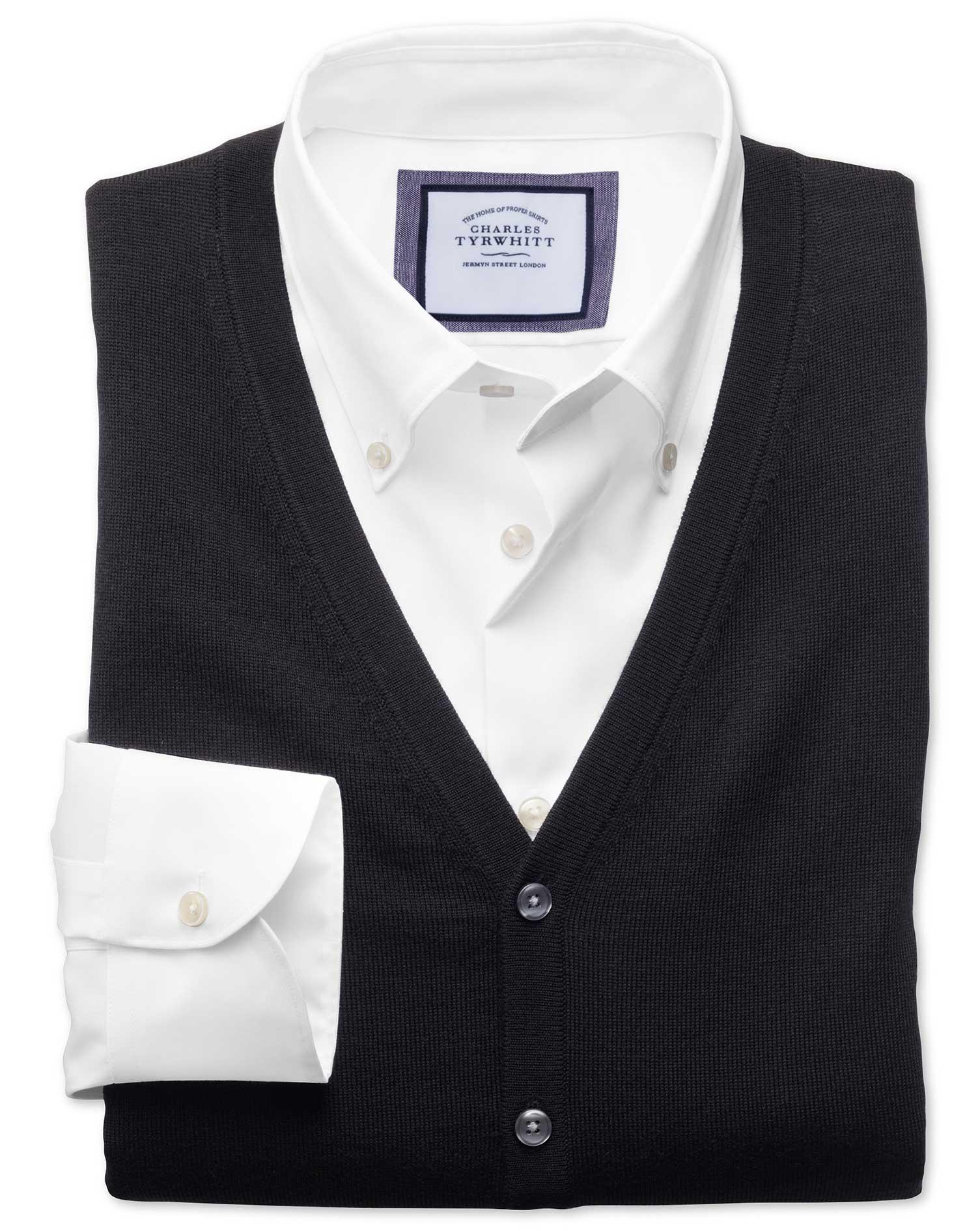 Black Merino Wool Waistcoat Size XXXL by Charles Tyrwhitt