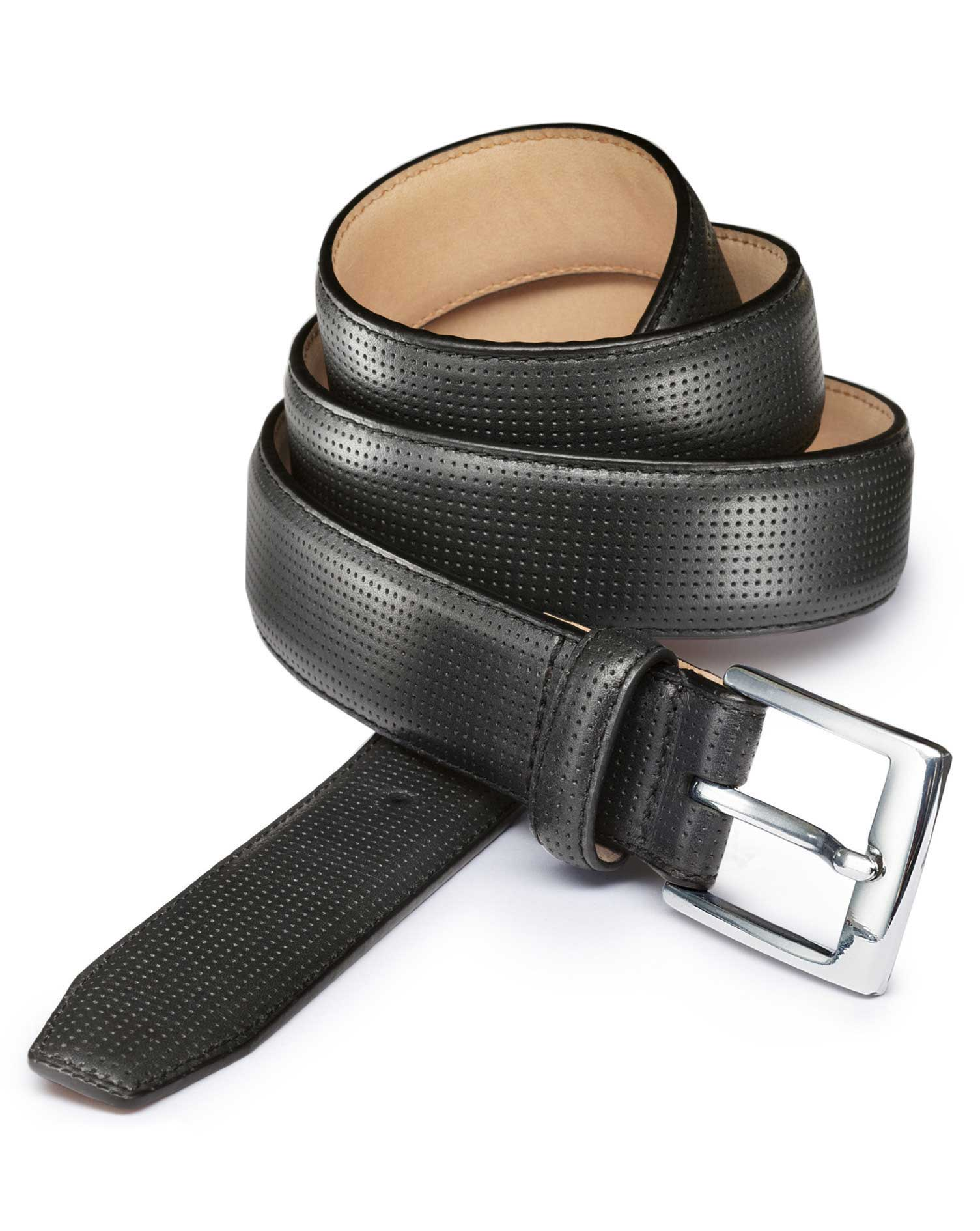 Black Perforated Leather Belt Size 30-32 by Charles Tyrwhitt