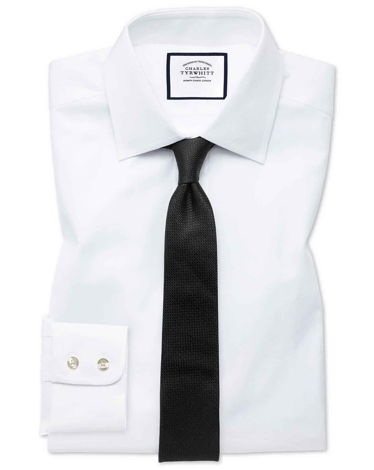Extra Slim Fit White Fine Herringbone Cotton Formal Shirt Double Cuff Size 15.5/32 by Charles Tyrwhi