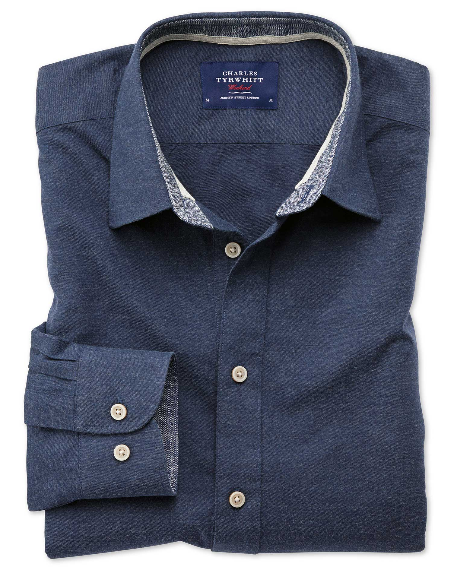 Slim Fit Popover Navy Blue Cotton Shirt Single Cuff Size XS by Charles Tyrwhitt