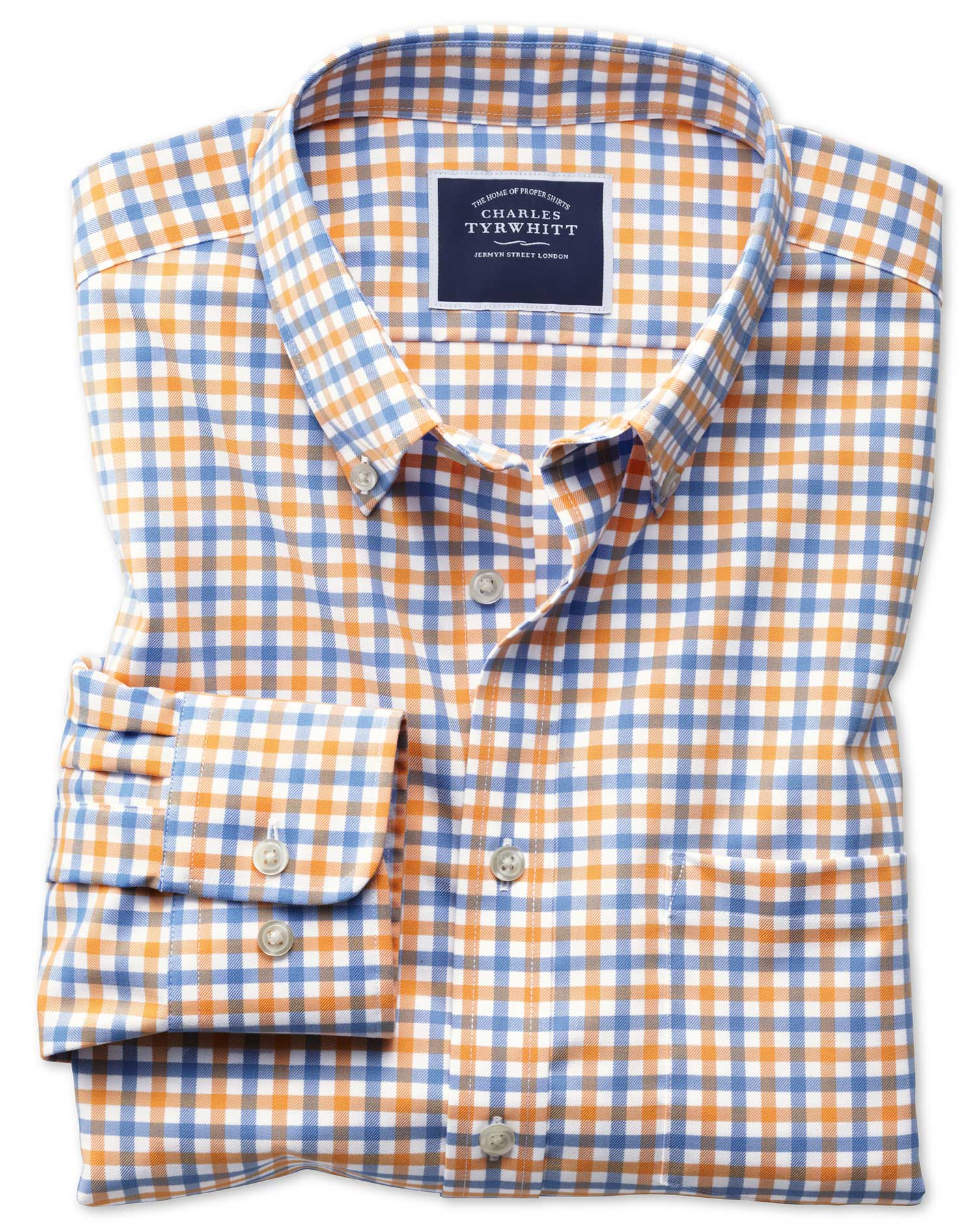 Slim fit button down non iron twill yellow and sky blue for Blue gingham button down shirt