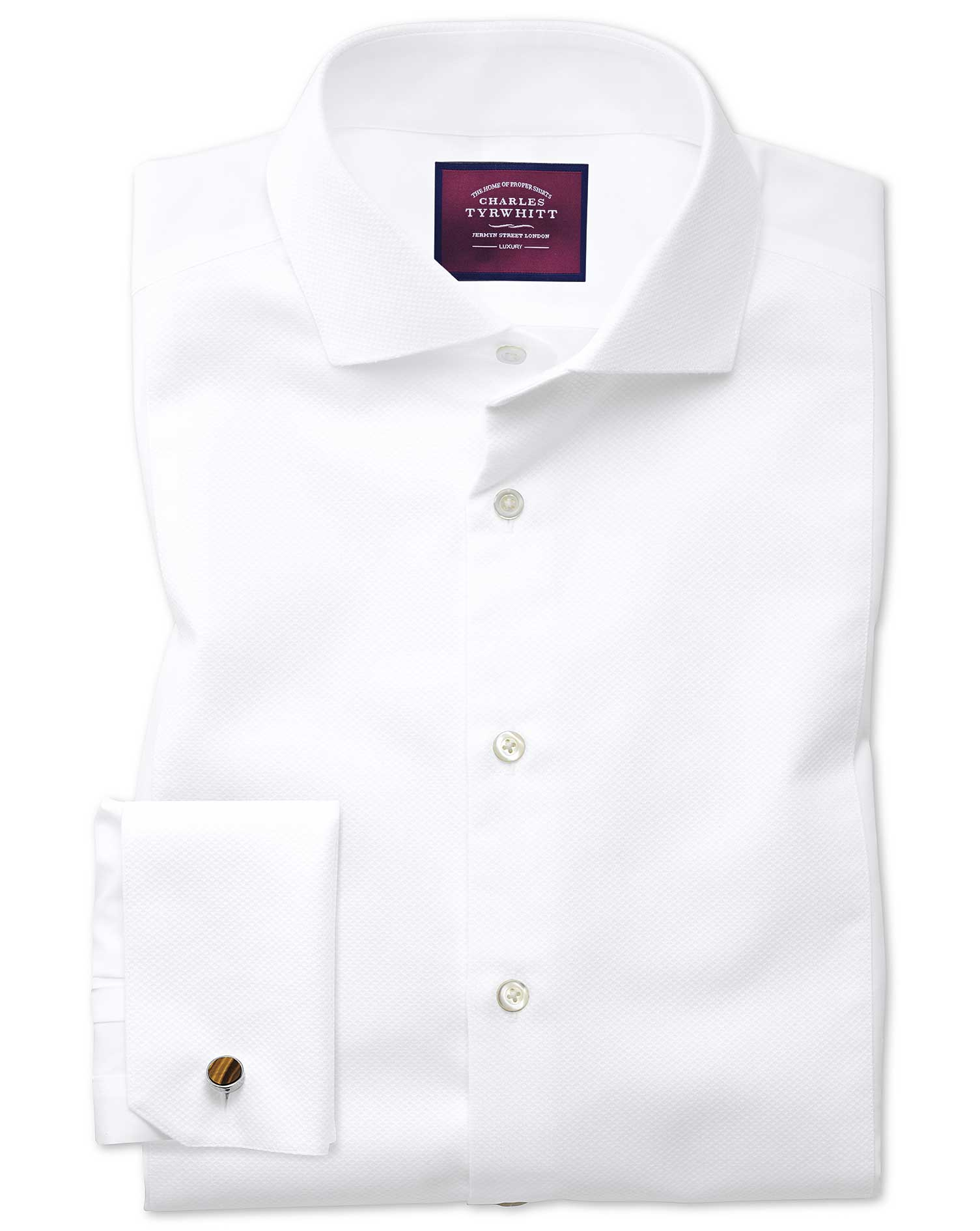Extra Slim Fit Cutaway Non-Iron Luxury Marcella Bib Front White Cotton Formal Shirt Double Cuff Size