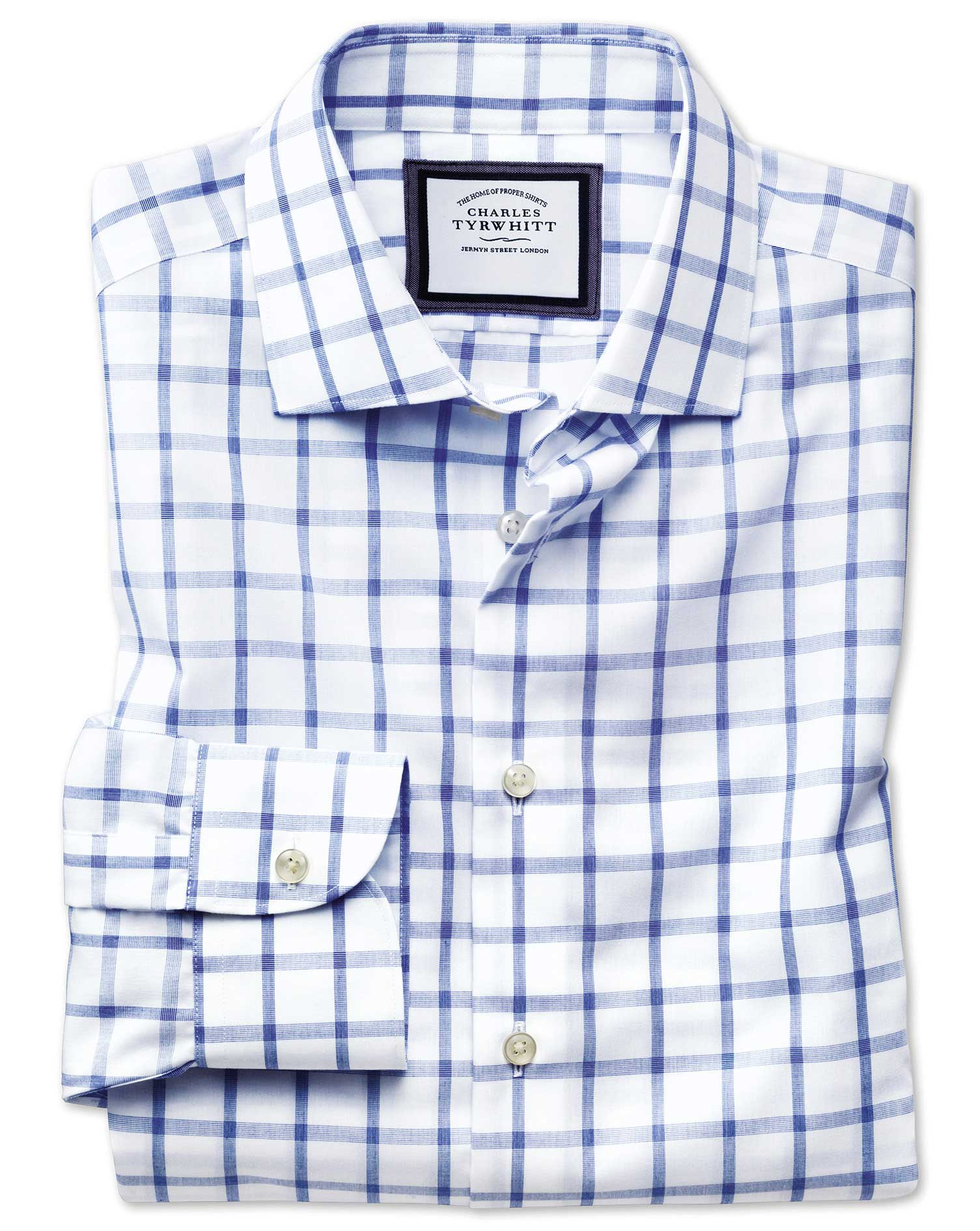 Slim Fit Semi-Cutaway Non-Iron Business Casual Blue and White Check Cotton Formal Shirt Single Cuff