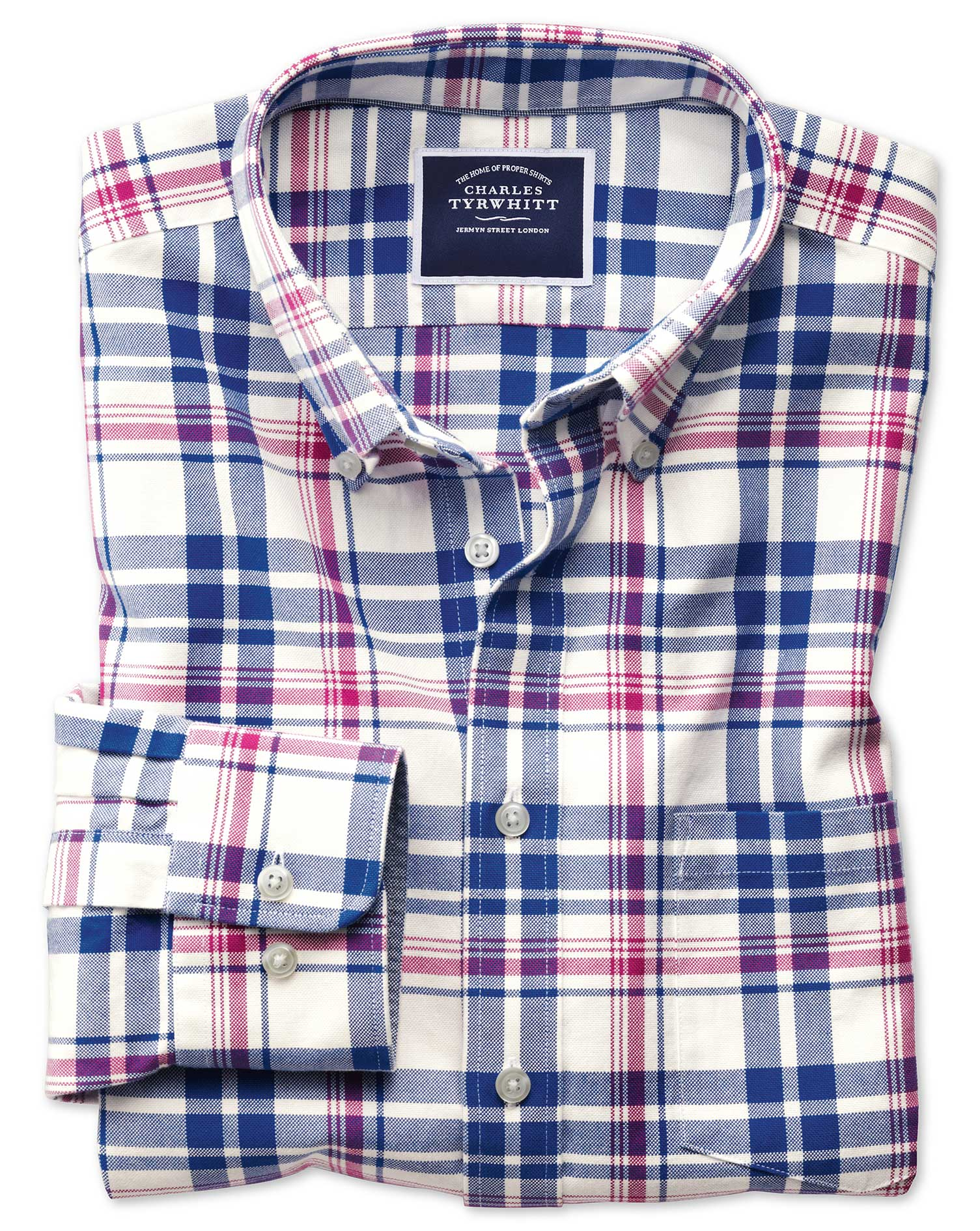 Slim Fit Button-Down Washed Oxford Royal and Pink Check Cotton Shirt Single Cuff Size Medium by Char