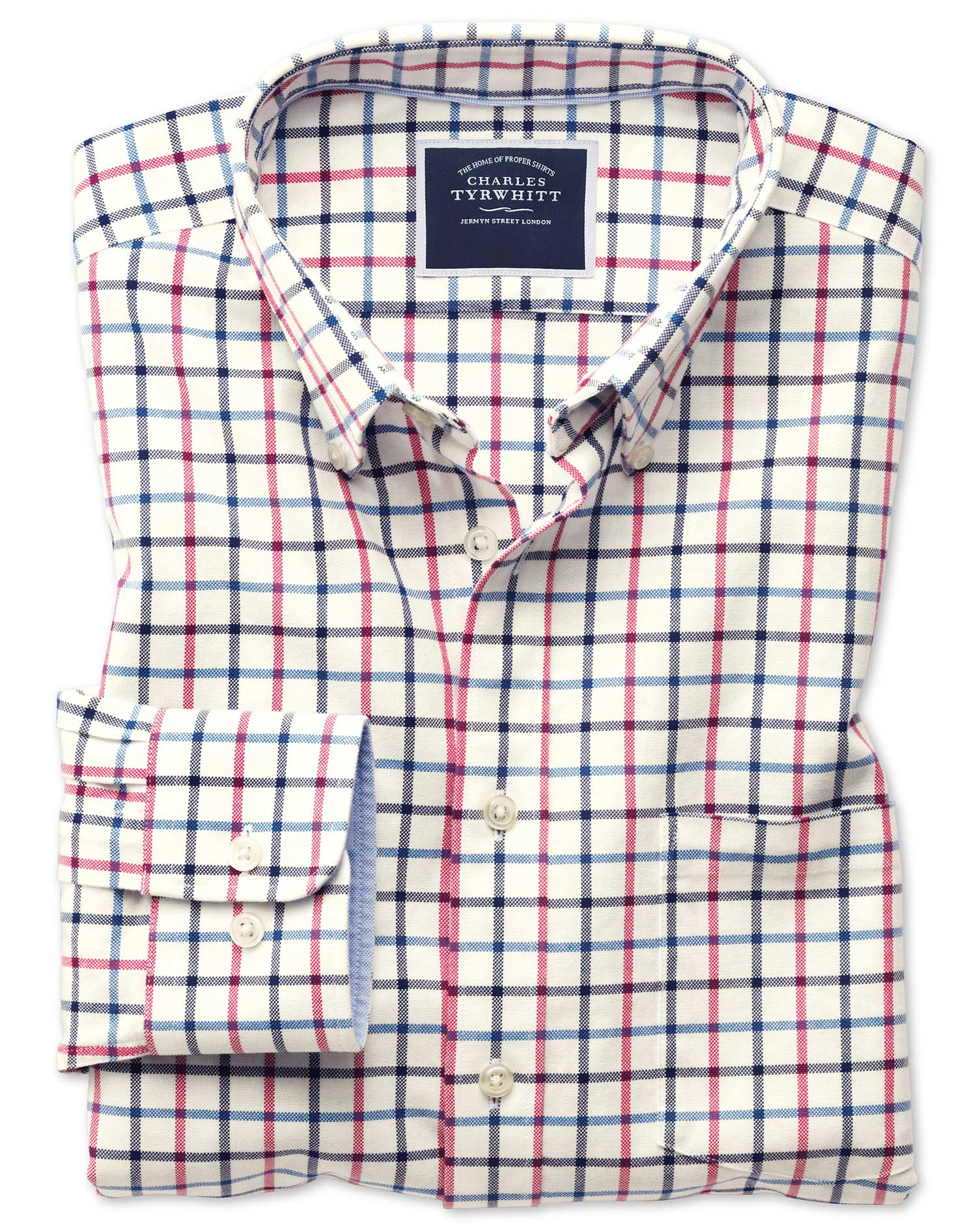 Classic Fit Button-Down Washed Oxford Navy and Pink Check Cotton Shirt Single Cuff Size XXL by Charl