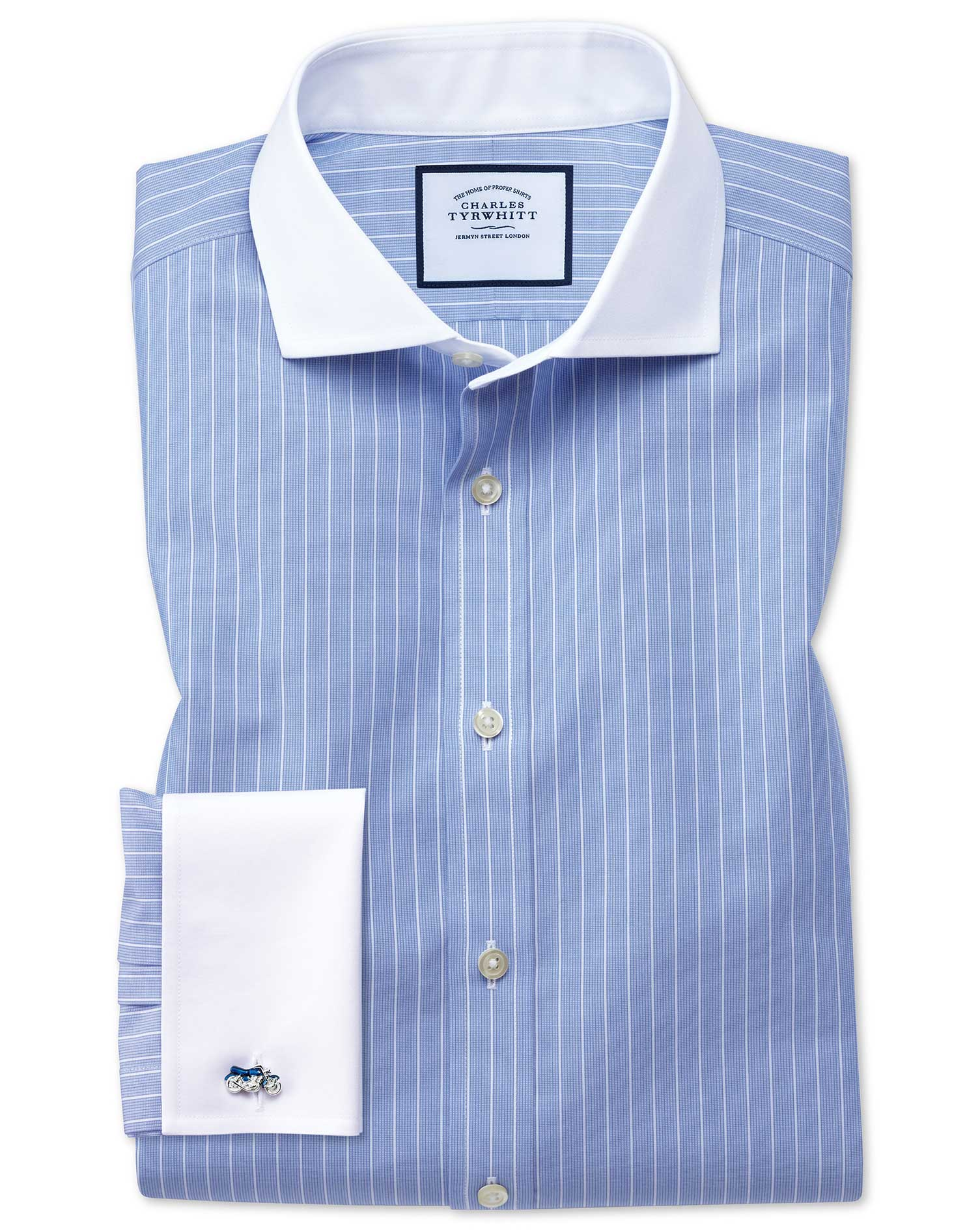 Slim Fit Cutaway Non-Iron Winchester Blue and White Cotton Formal Shirt Double Cuff Size 16.5/36 by