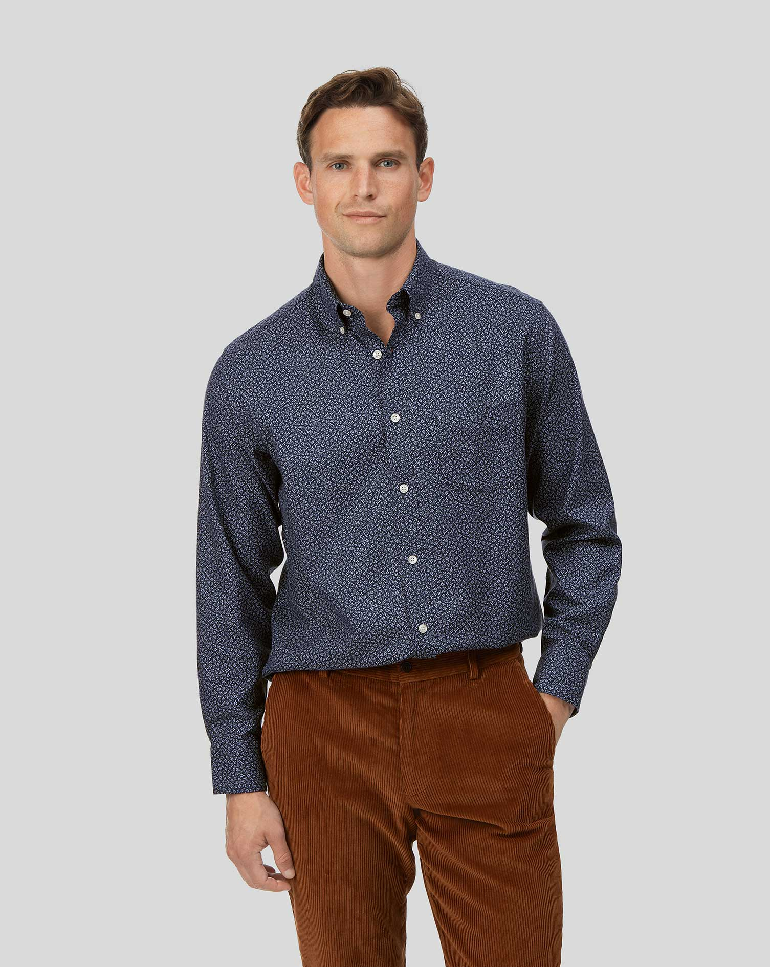 Cotton Classic Fit Soft Washed Non-Iron Twill Navy Leaf Print Shirt
