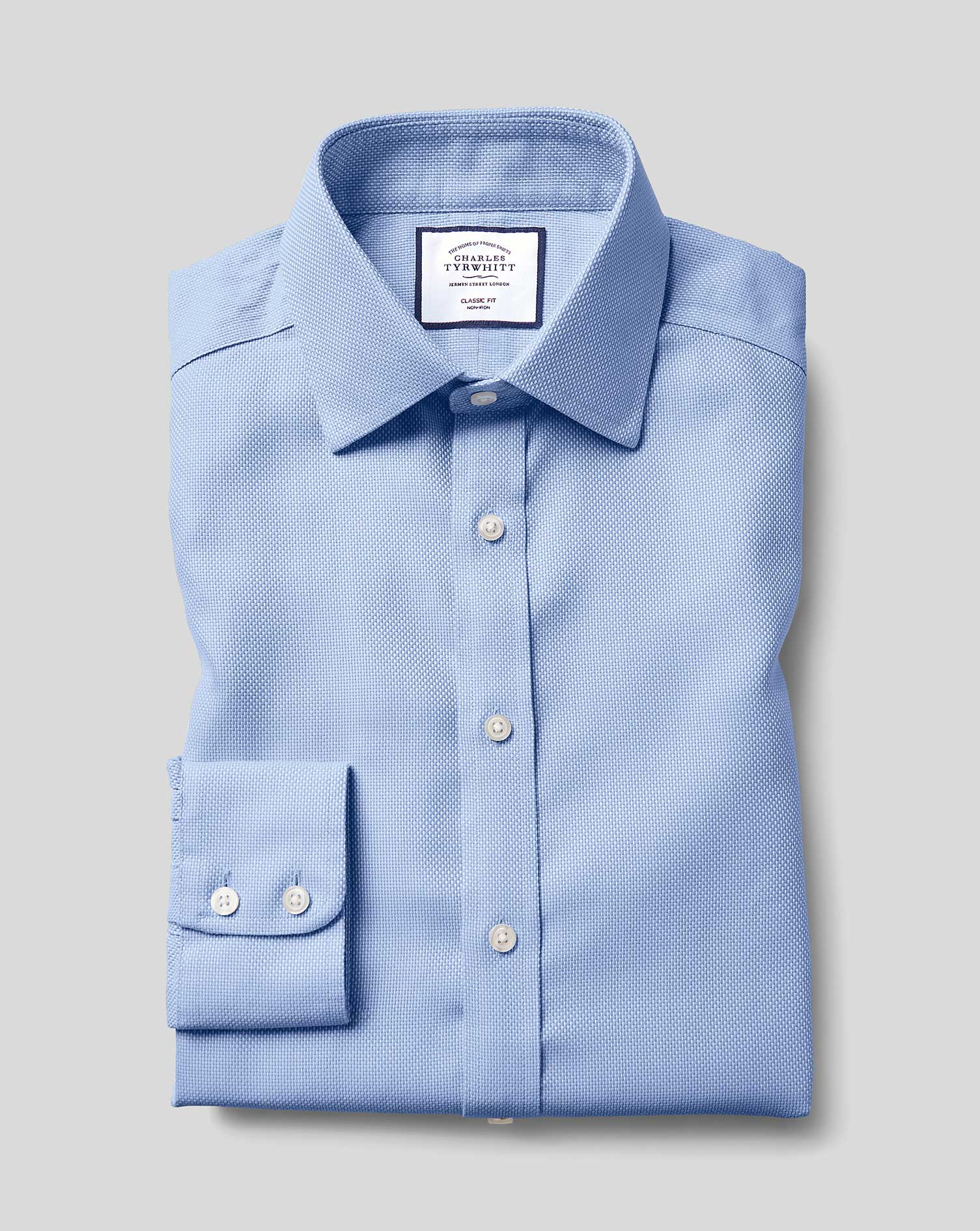 Cotton Classic Fit Non-Iron Buckingham Weave Blue Shirt